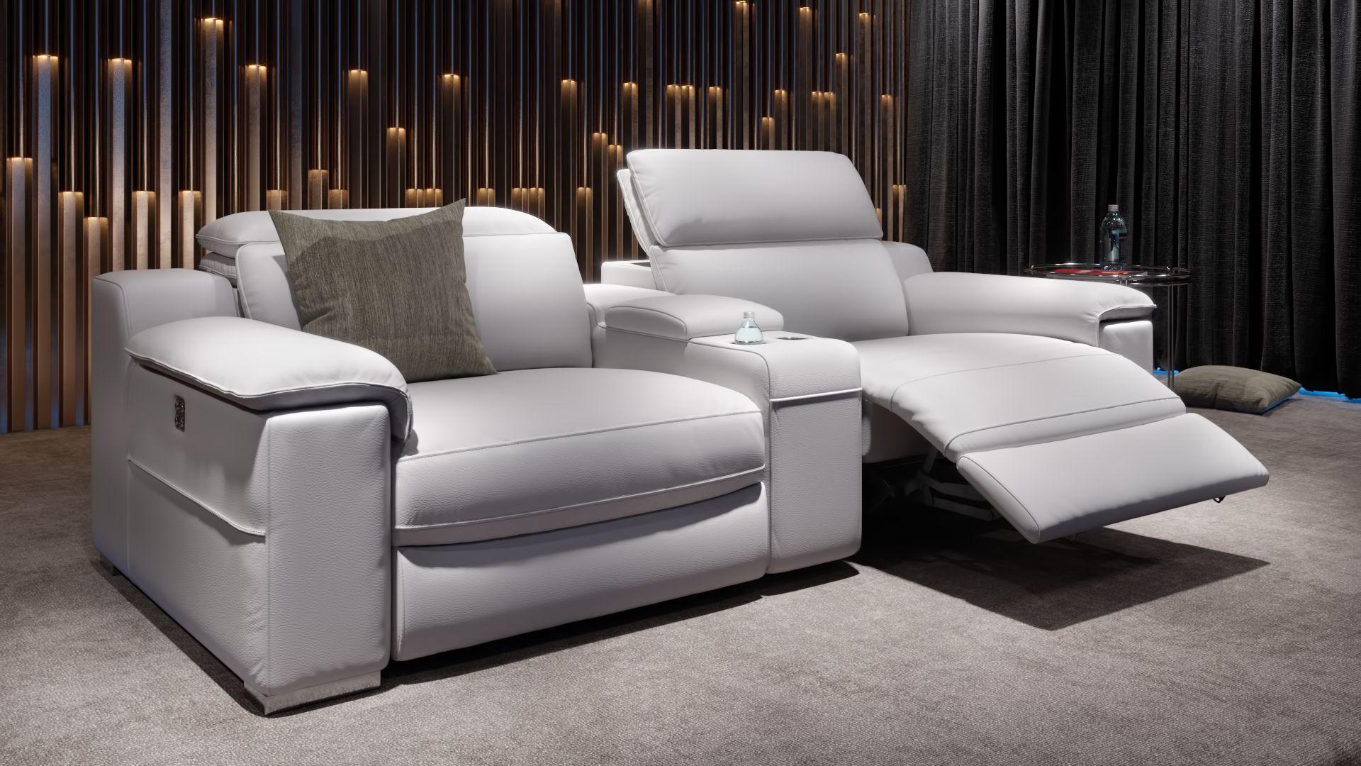 Leder 2-Sitzer Kinosessel mit einer Mittelkonsole MACELLO