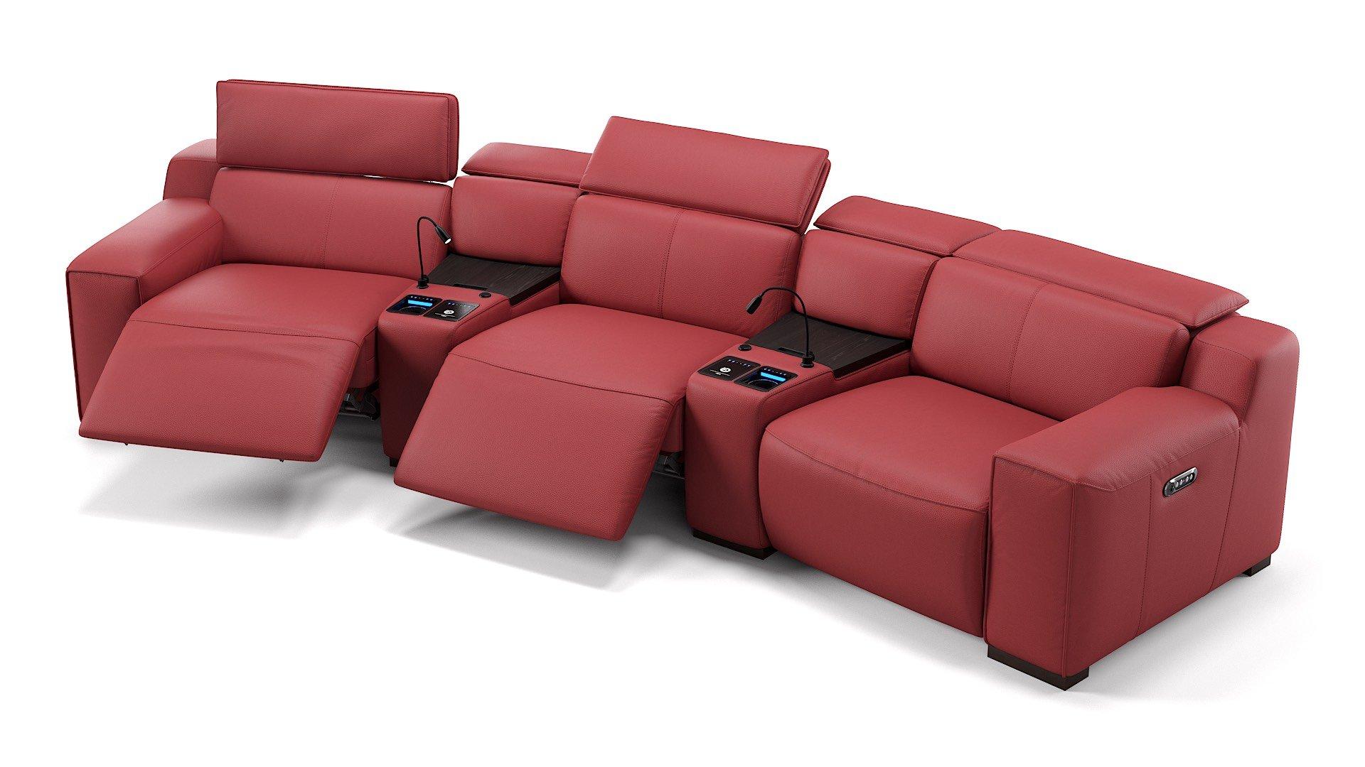 Leder 3-Sitzer Kinosofa mit zwei Mittelkonsolen LORETO