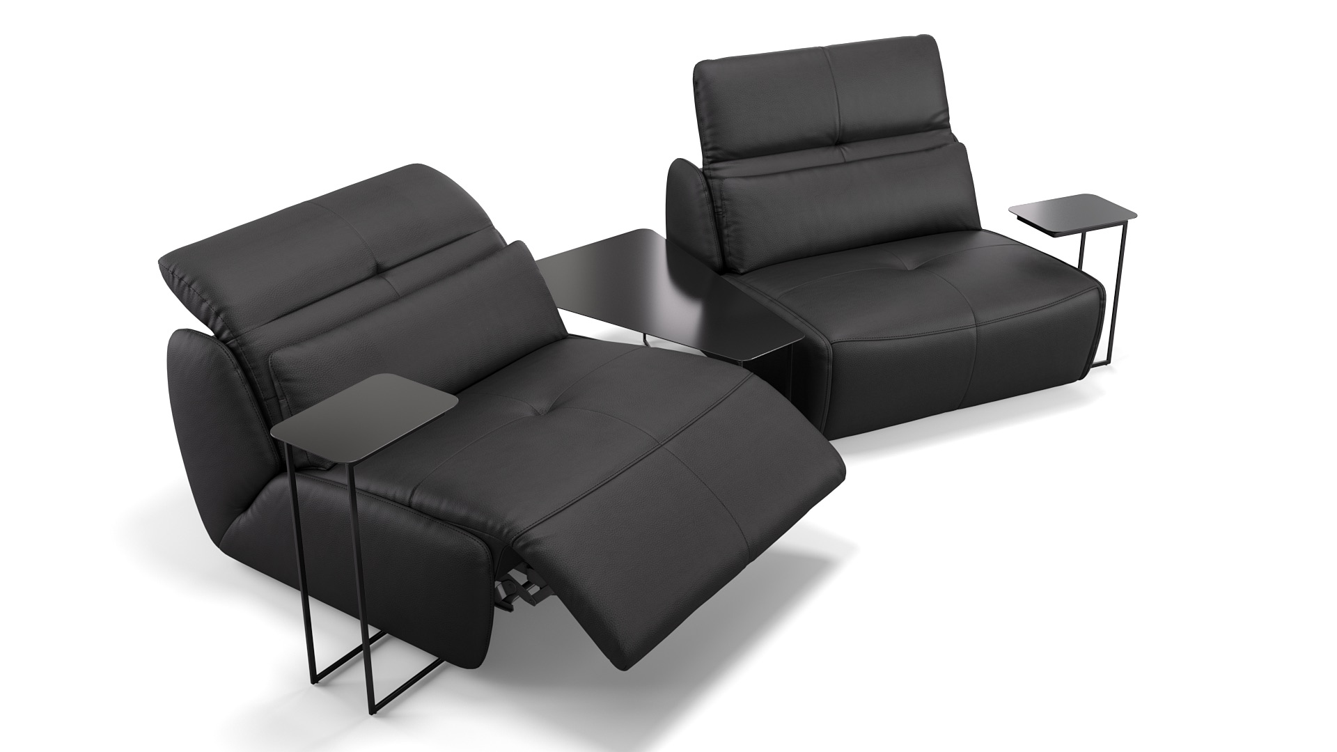Leder 2-Sitzer mit Tischen MODICA