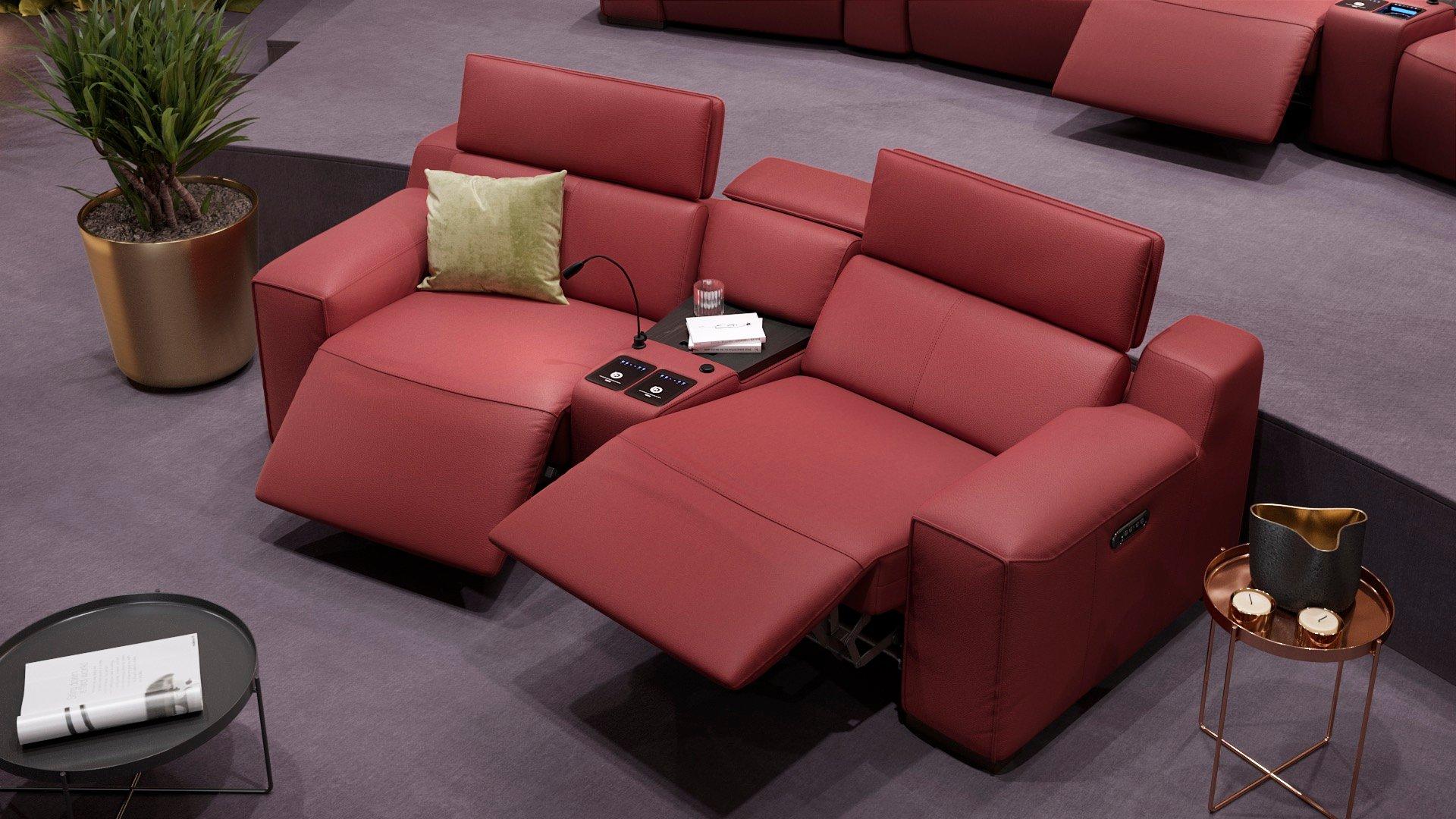 Leder 2-Sitzer Kinosofa mit einer Mittelkonsole LORETO