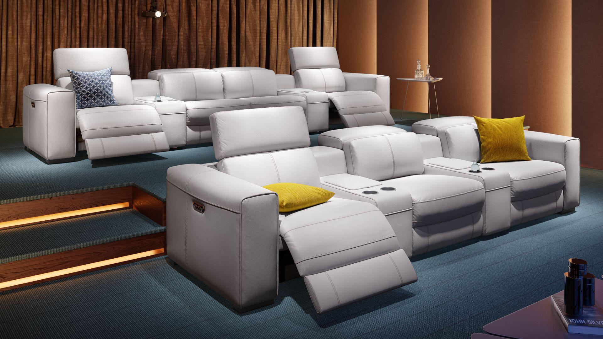 Leder 4-Sitzer Kinosofa mit zwei Mittelkonsolen BOVINO