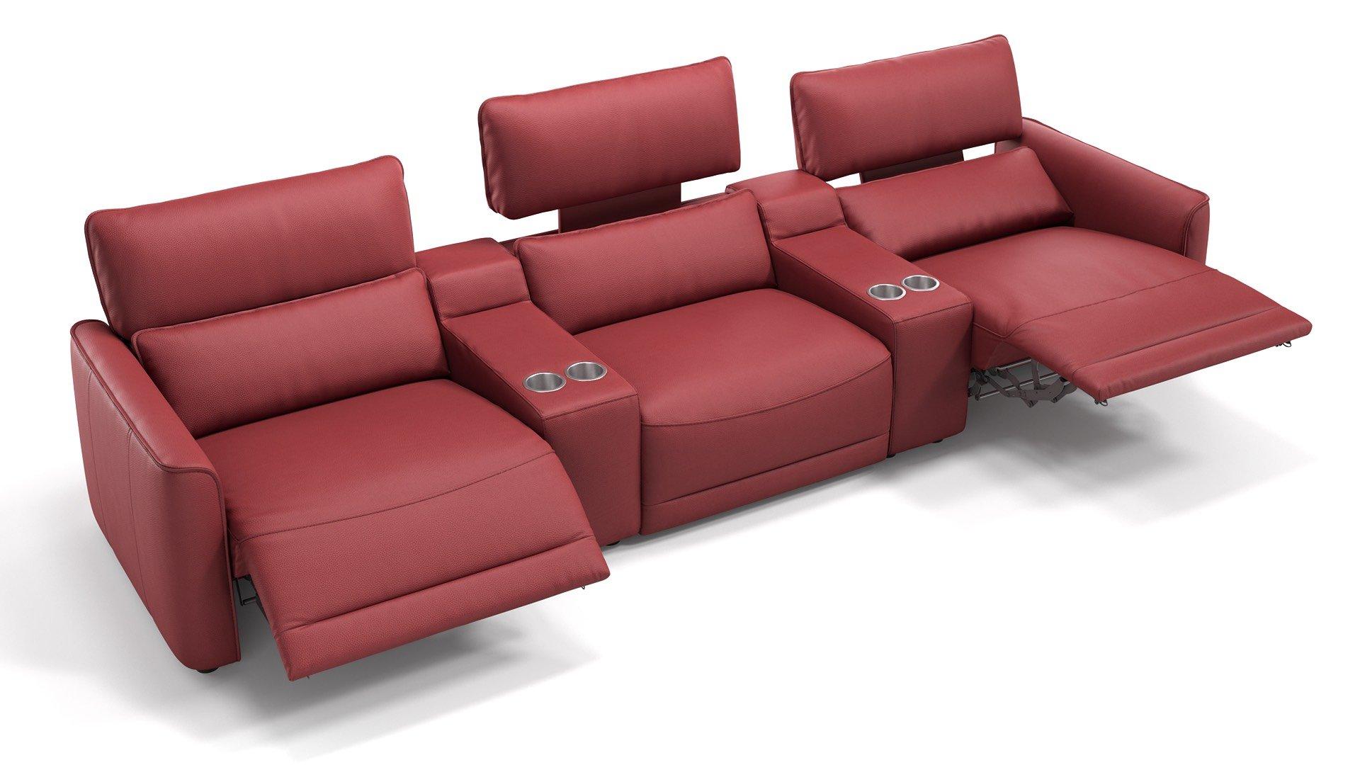 Leder 3-Sitzer Kinosofa mit zwei Mittelkonsolen GALA
