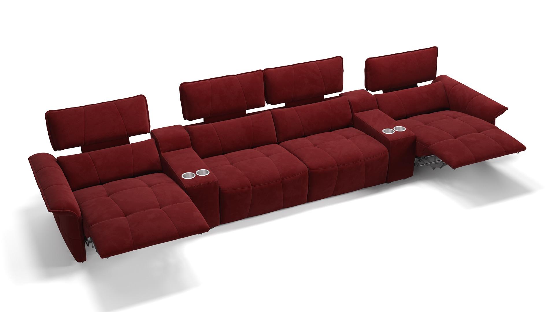 Stoff 4-Sitzer Kinosofa mit zwei Mittelkonsolen ADRIA