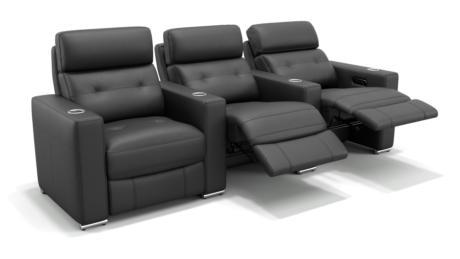 Leder 3-Sitzer Kinosofa mit zwei Mittelkonsolen MATERA