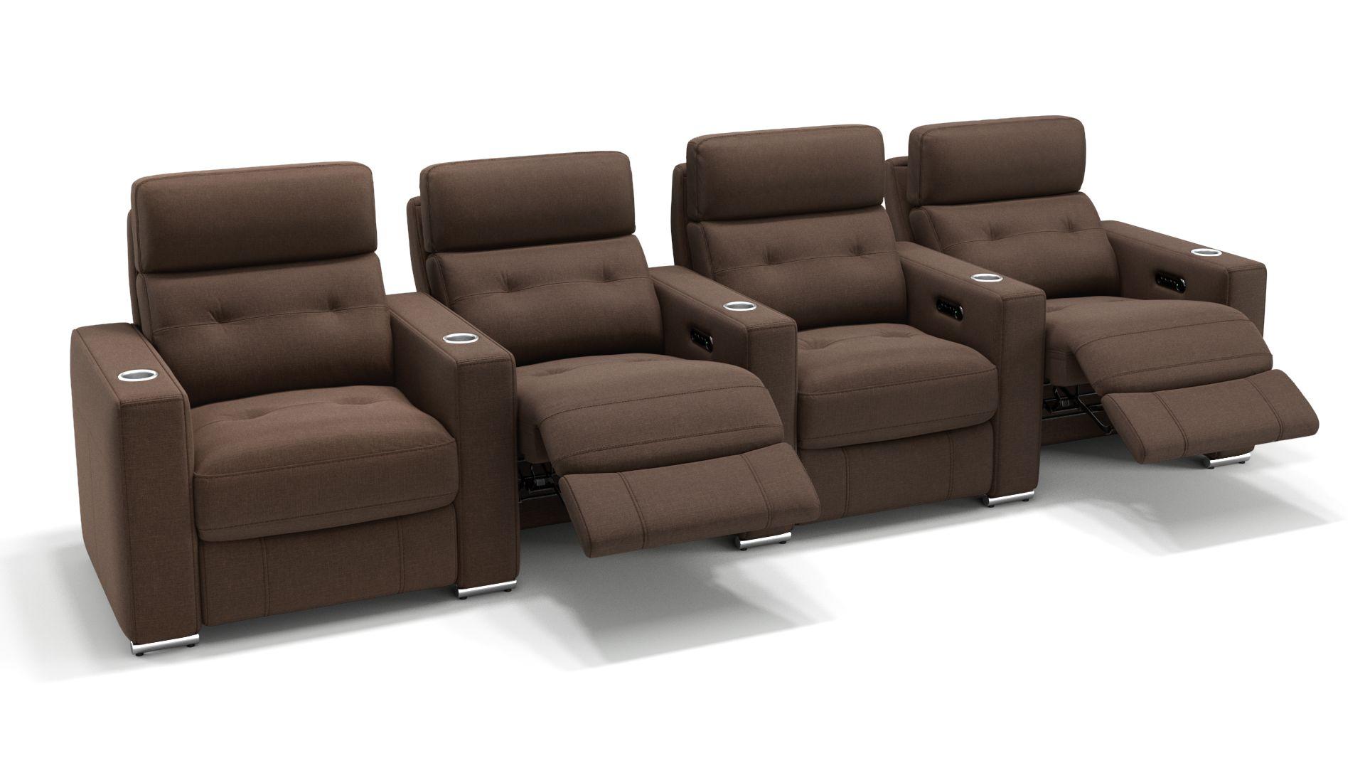 Stoff 4-Sitzer Kinosofa mit drei Mittelkonsolen MATERA