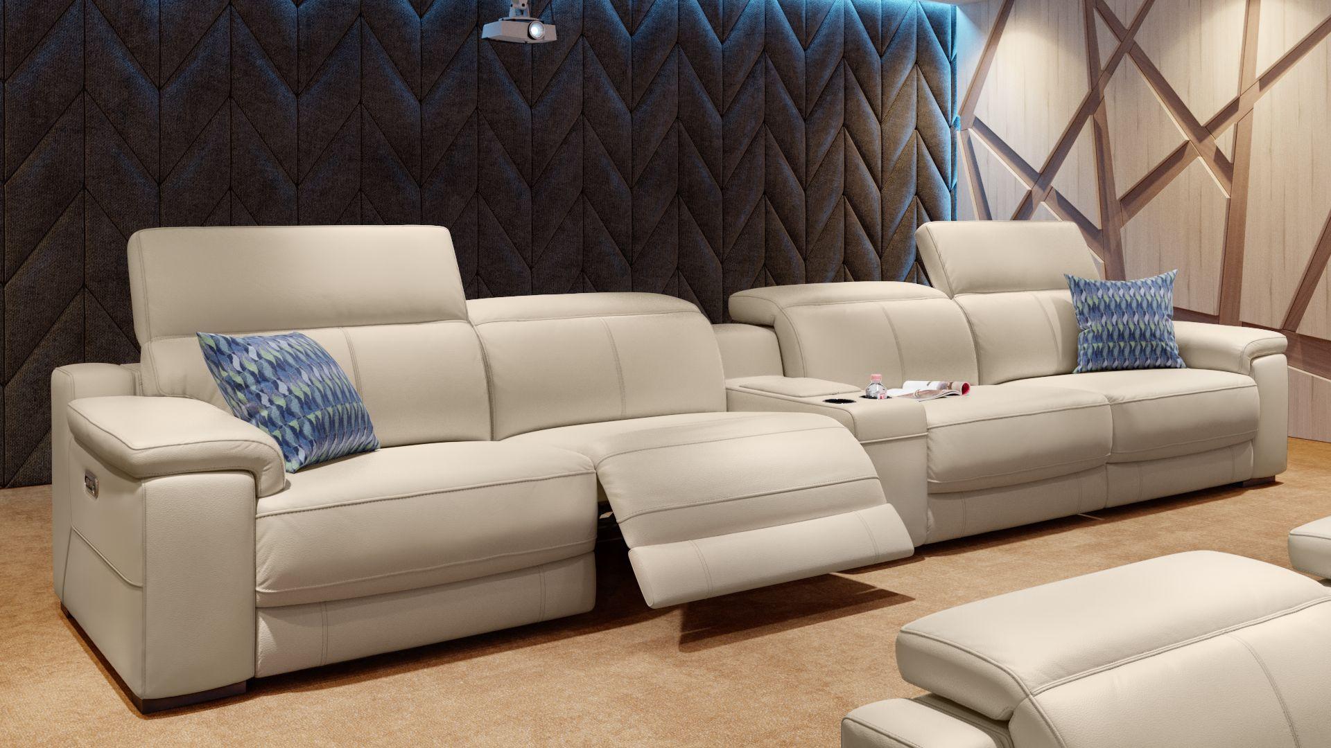 Leder 4-Sitzer Kinosofa mit einer Mittelkonsole SORA