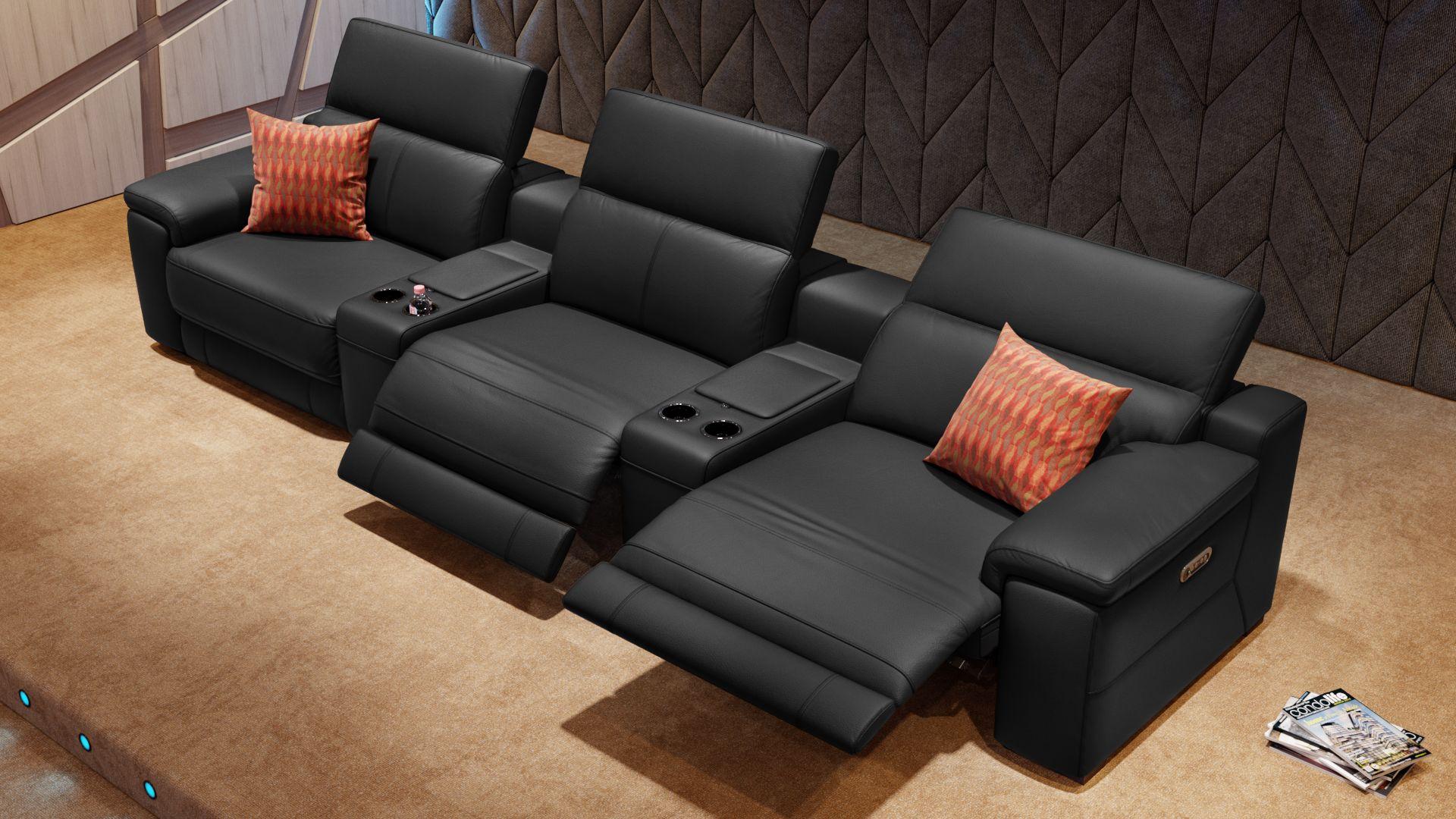 Leder 3-Sitzer Kinosofa mit zwei Mittelkonsolen SORA
