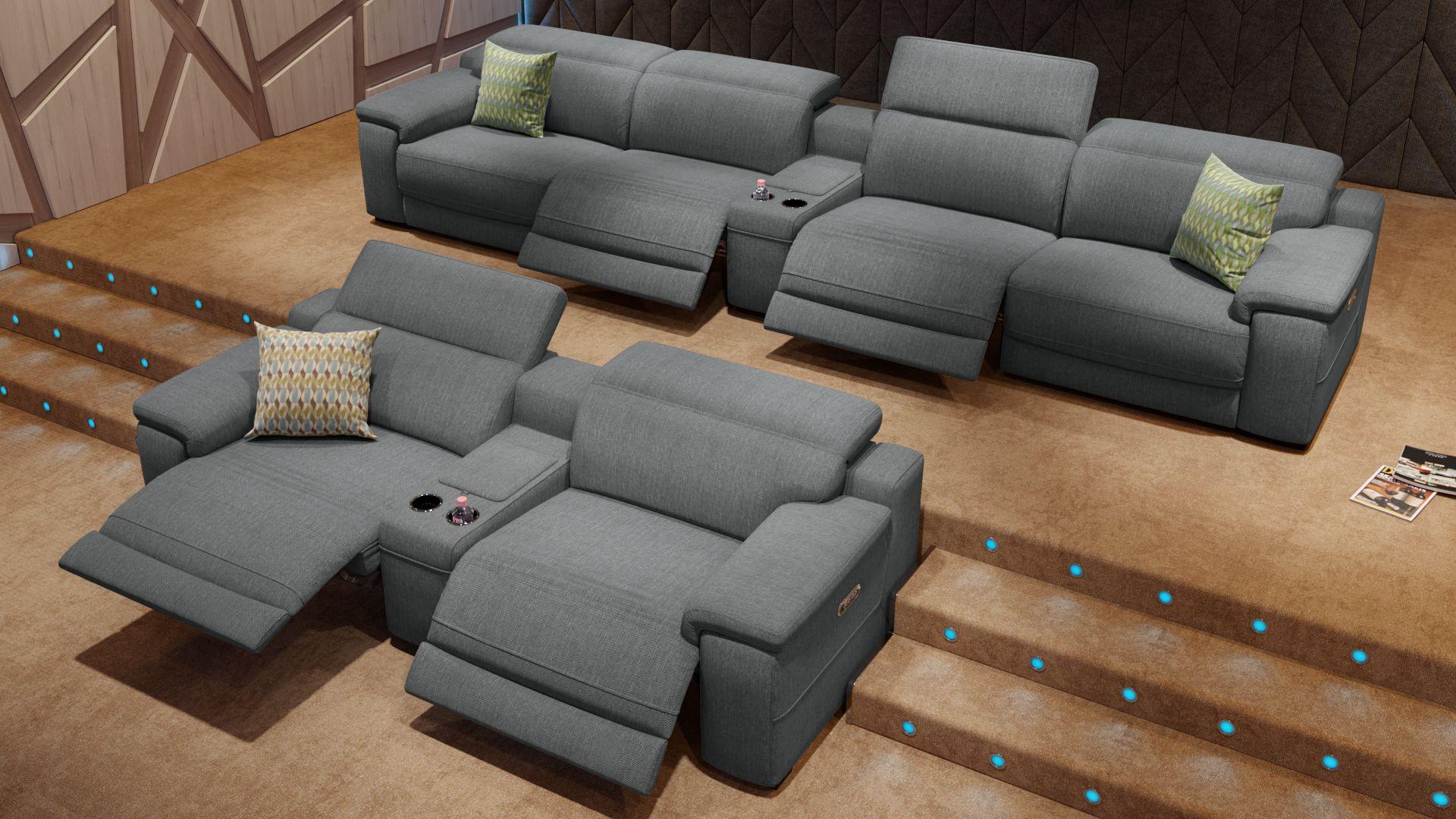 Stoff 4-Sitzer Kinosofa mit einer Mittelkonsole SORA