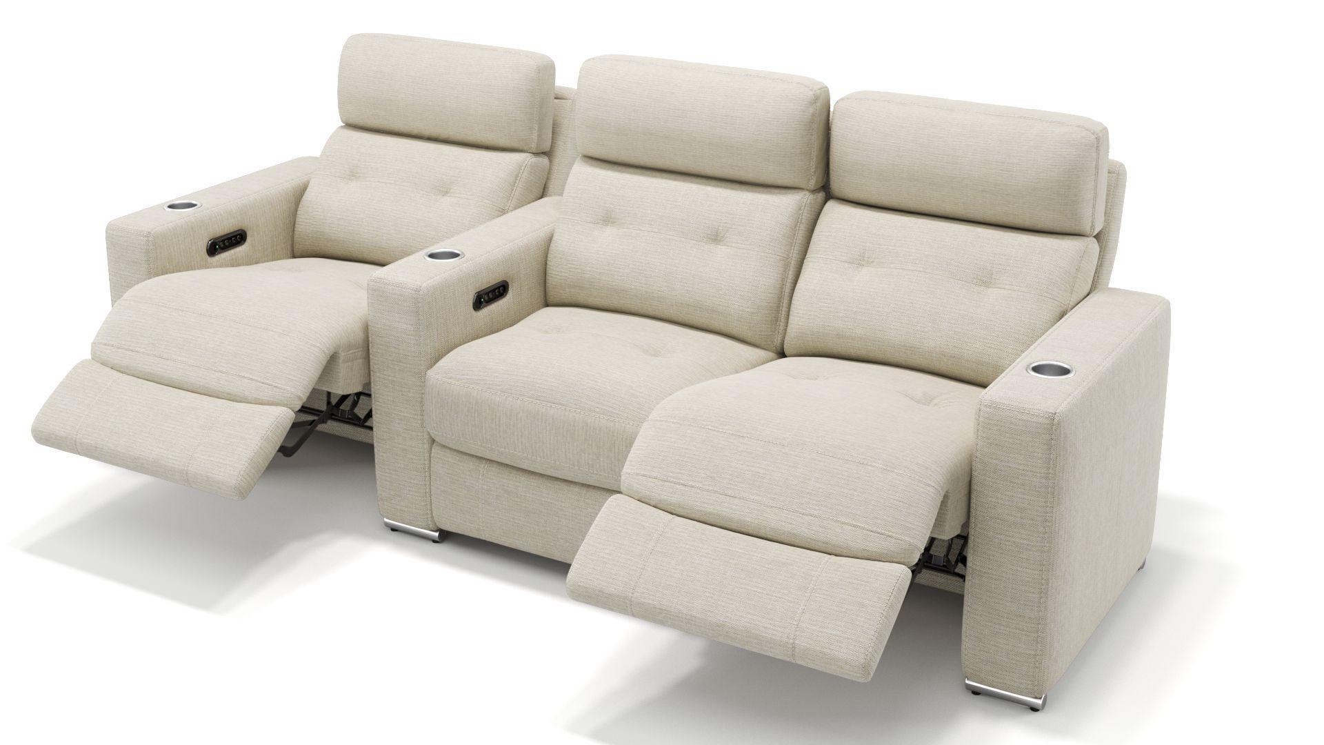 Stoff 3-Sitzer Kinosofa mit einer Mittelkonsole MATERA