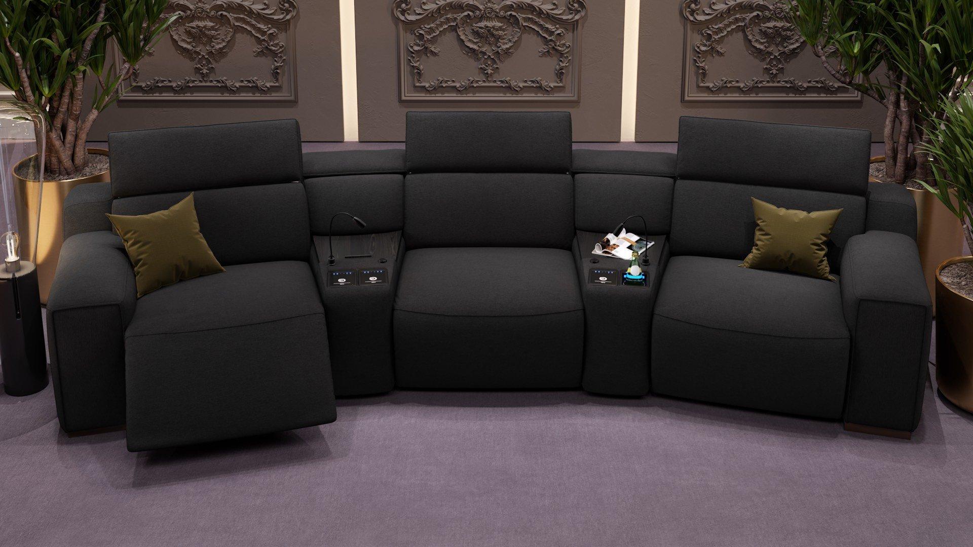 Stoff 3-Sitzer Kinosofa mit zwei Mittelkonsolen LORETO