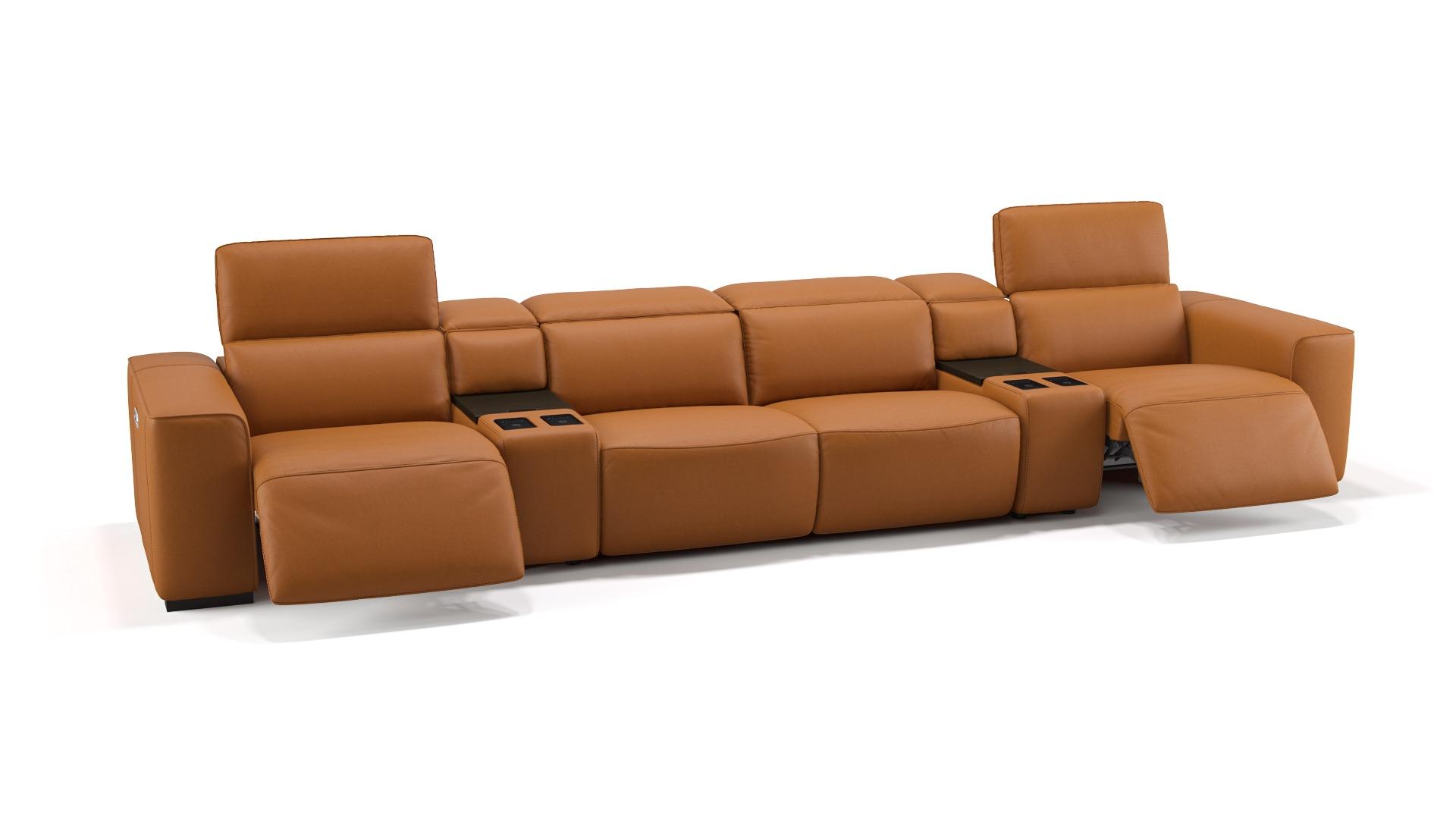 Leder 4-Sitzer Kinosofa mit zwei Mittelkonsolen BINETTO