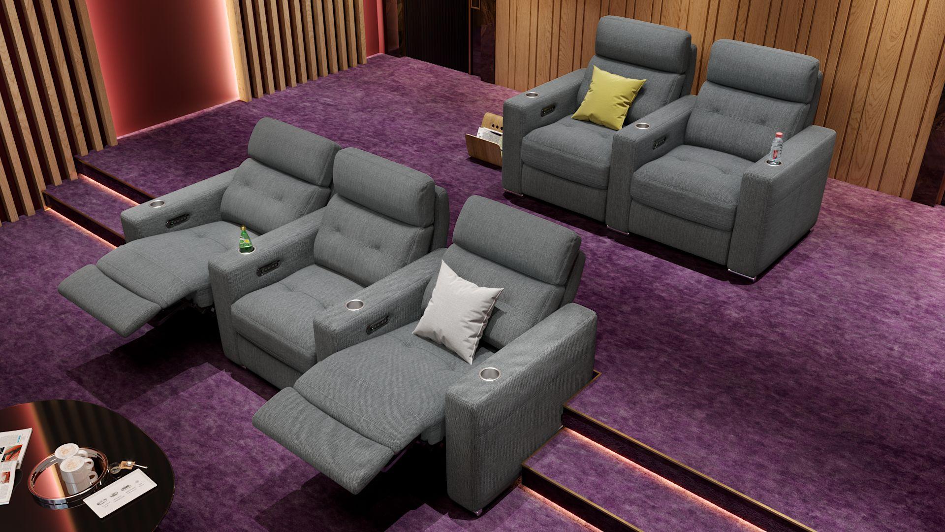 Stoff 3-Sitzer Kinosofa mit zwei Mittelkonsolen MATERA