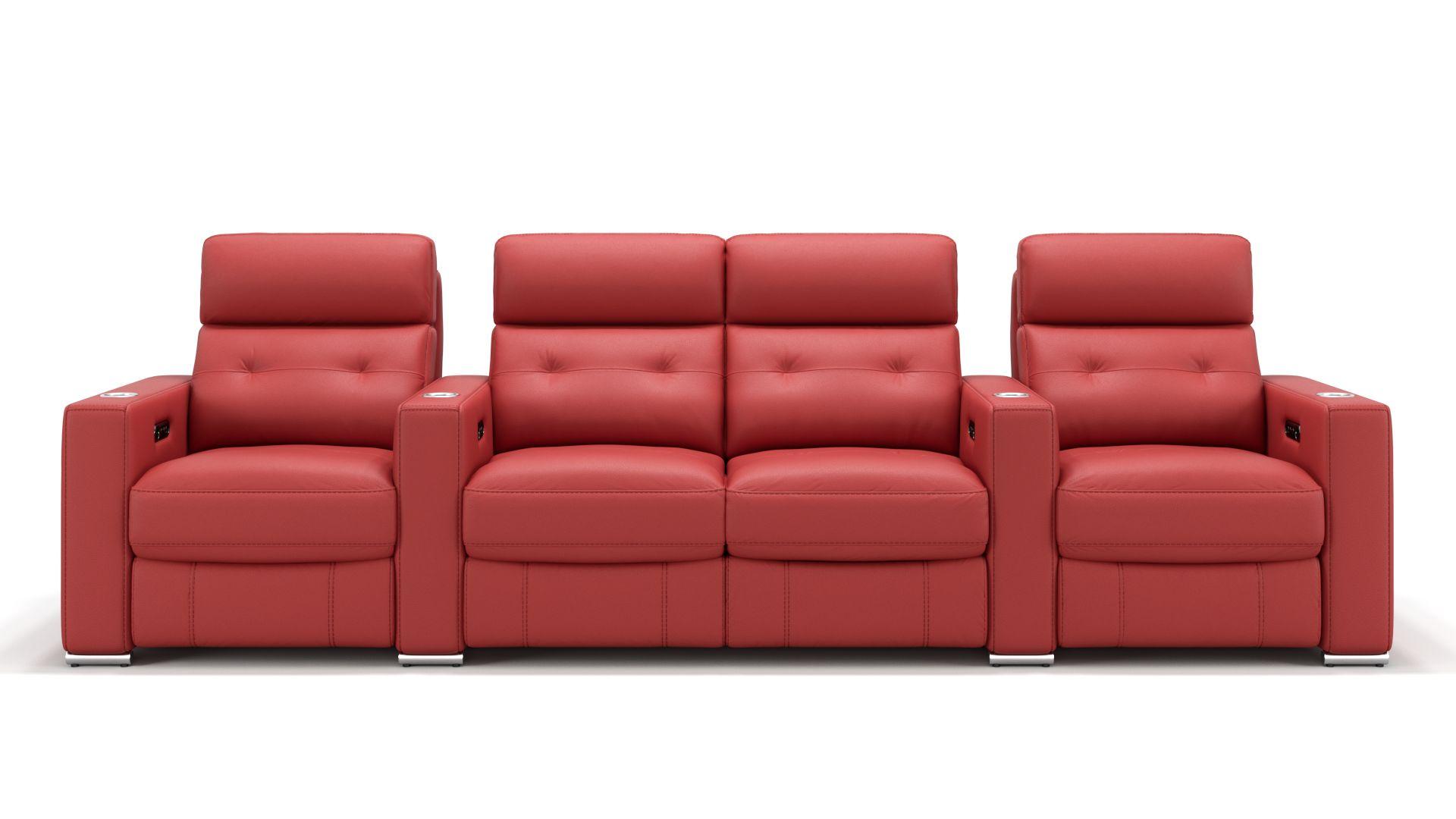 Leder 4-Sitzer Kinosofa mit zwei Mittelkonsolen MATERA