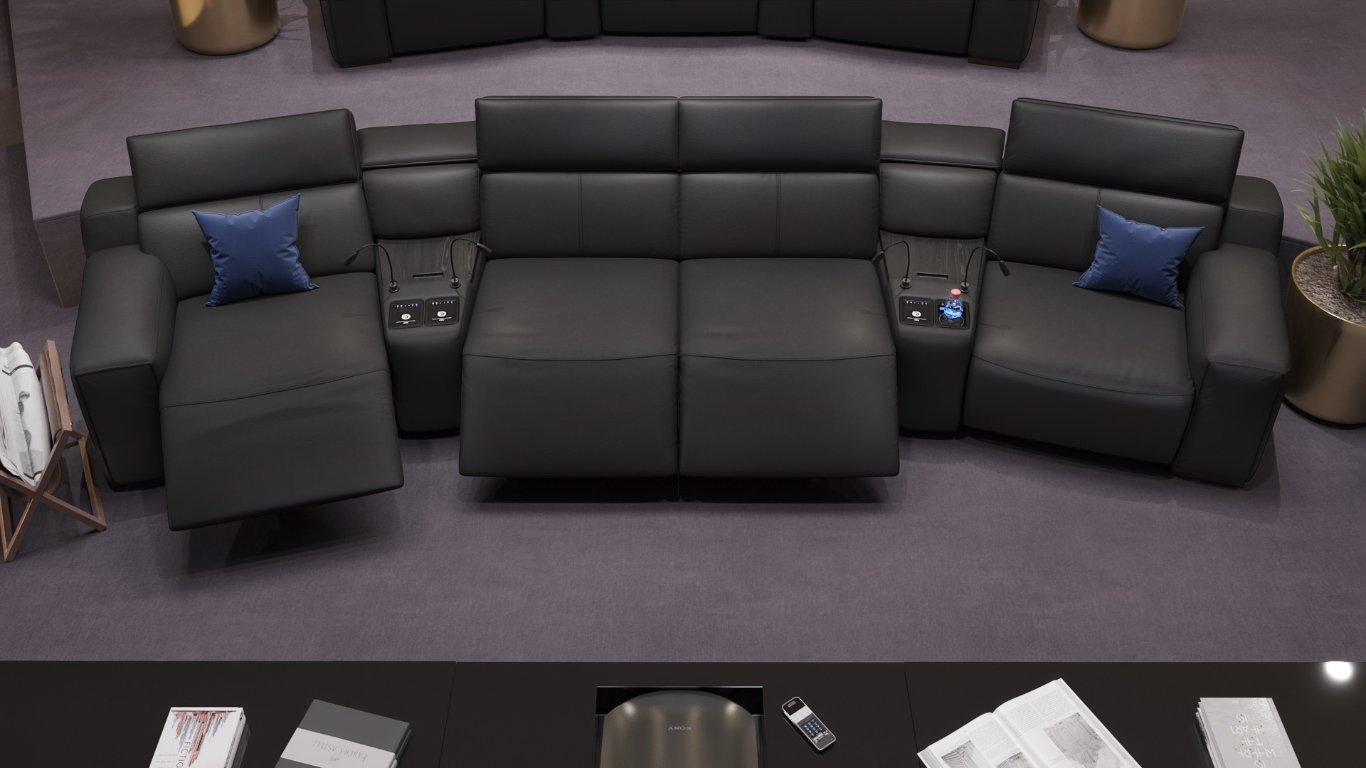 Leder 4-Sitzer Kinosofa mit zwei Mittelkonsolen LORETO