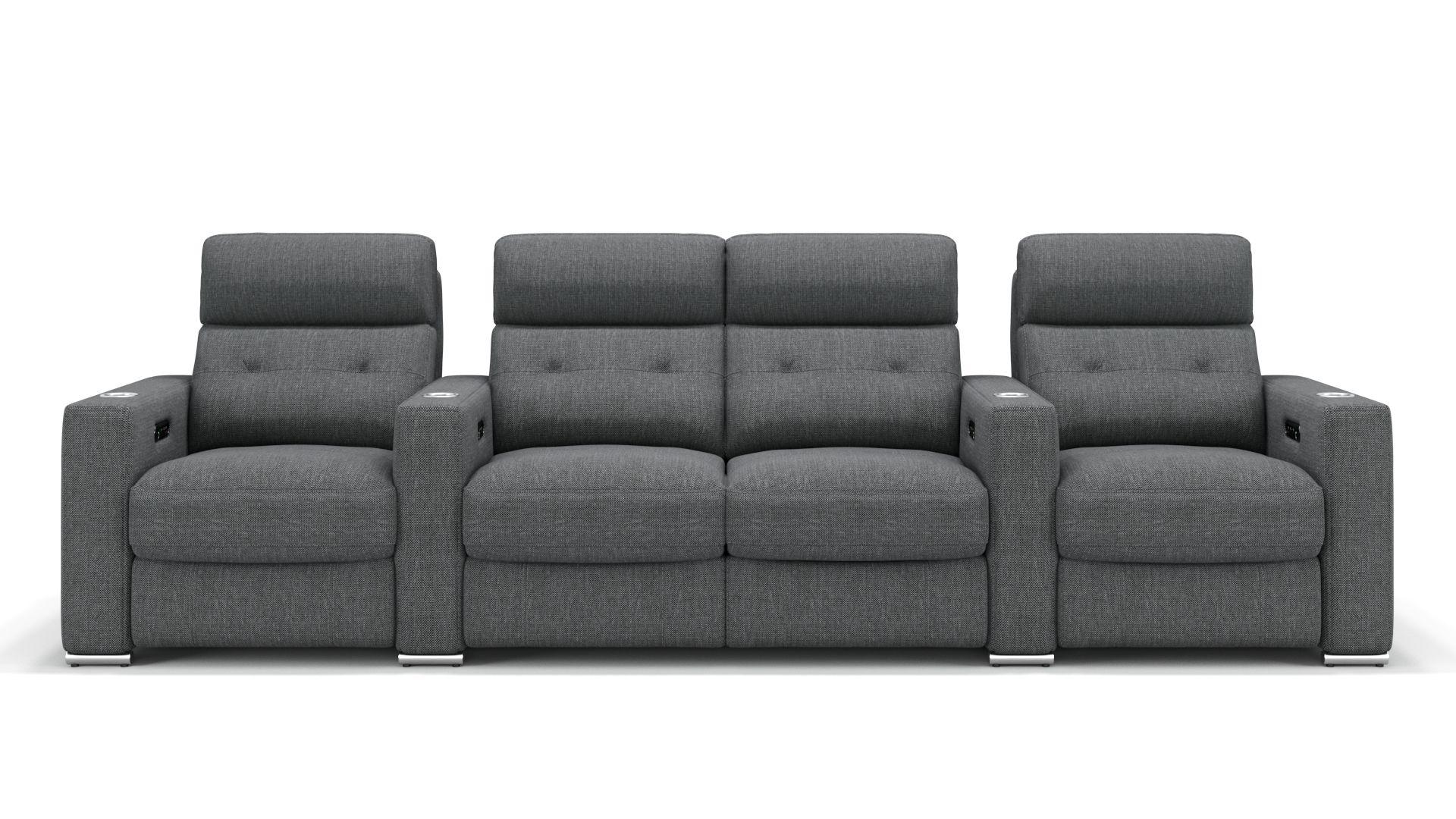 Stoff 4-Sitzer Kinosofa mit zwei Mittelkonsolen MATERA