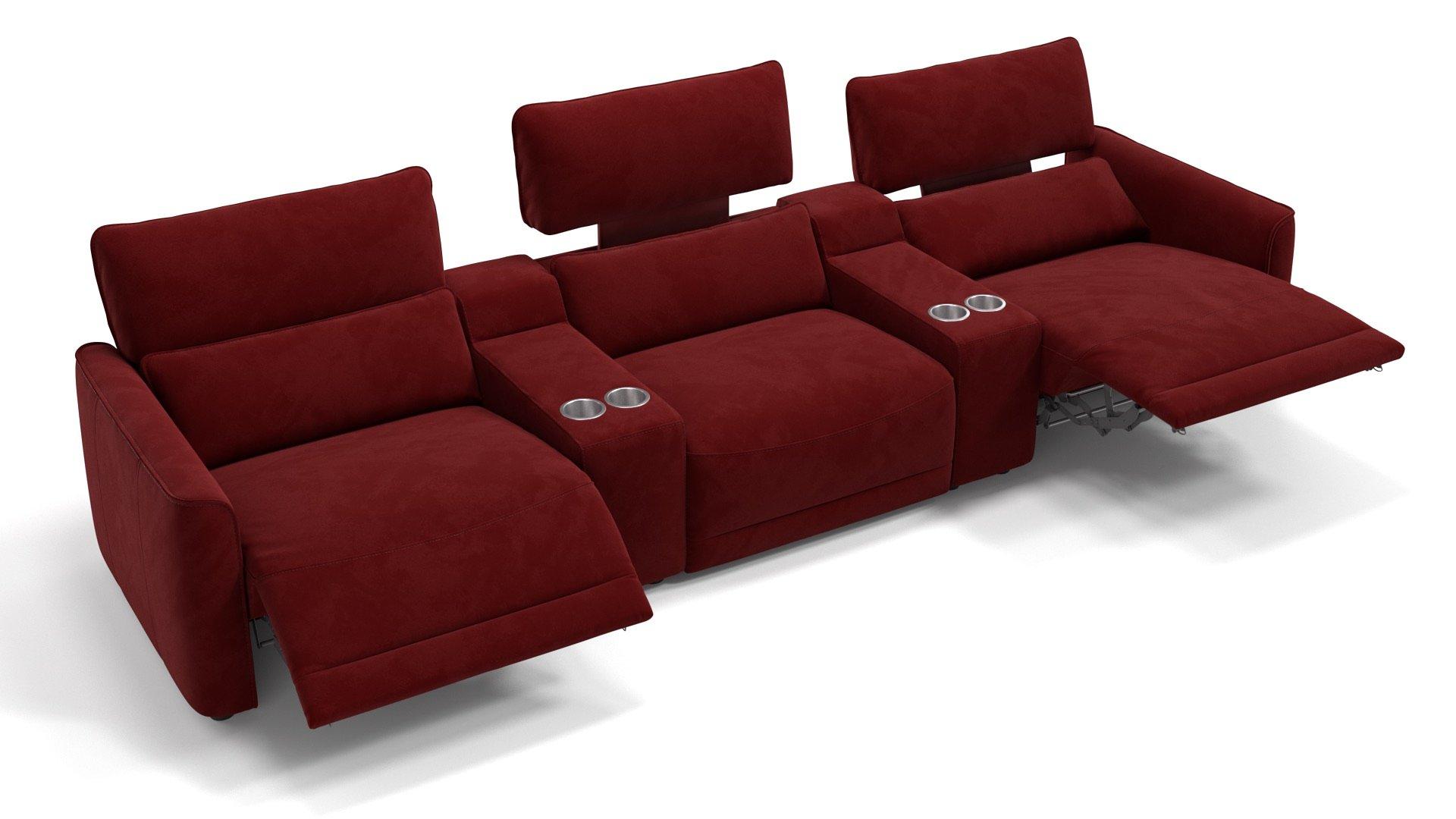 Stoff 3-Sitzer Kinosofa mit zwei Mittelkonsolen GALA