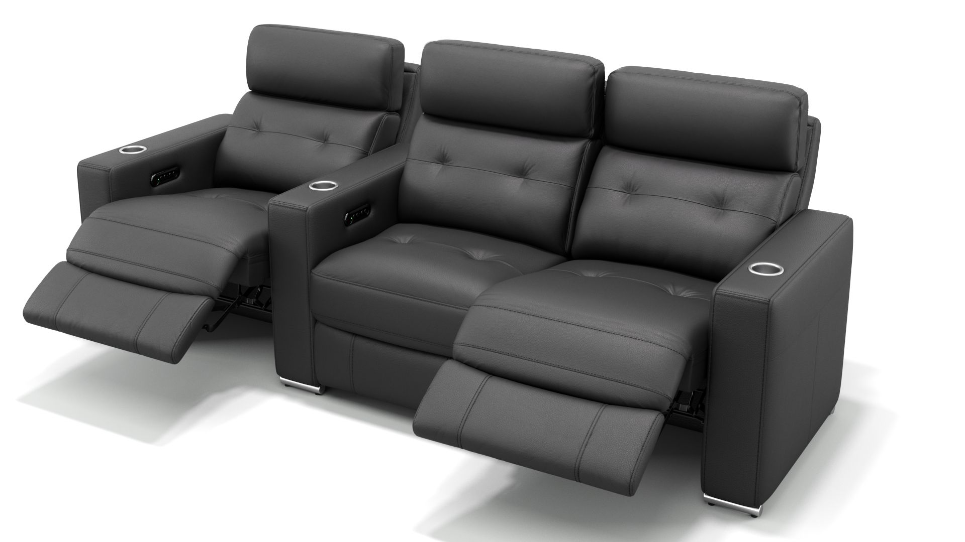 Leder 3-Sitzer Kinosofa mit einer Mittelkonsole MATERA