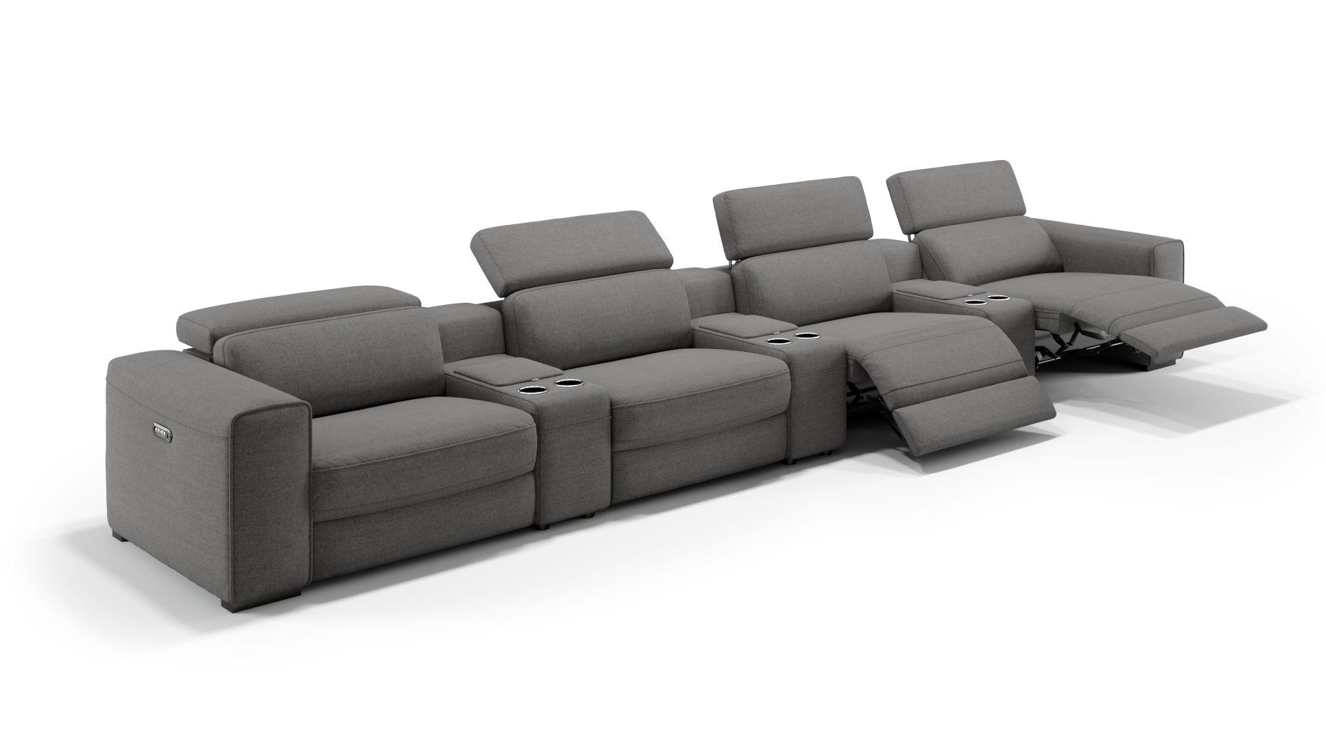 Stoff 4-Sitzer Kinosofa mit drei Mittelkonsolen BOVINO