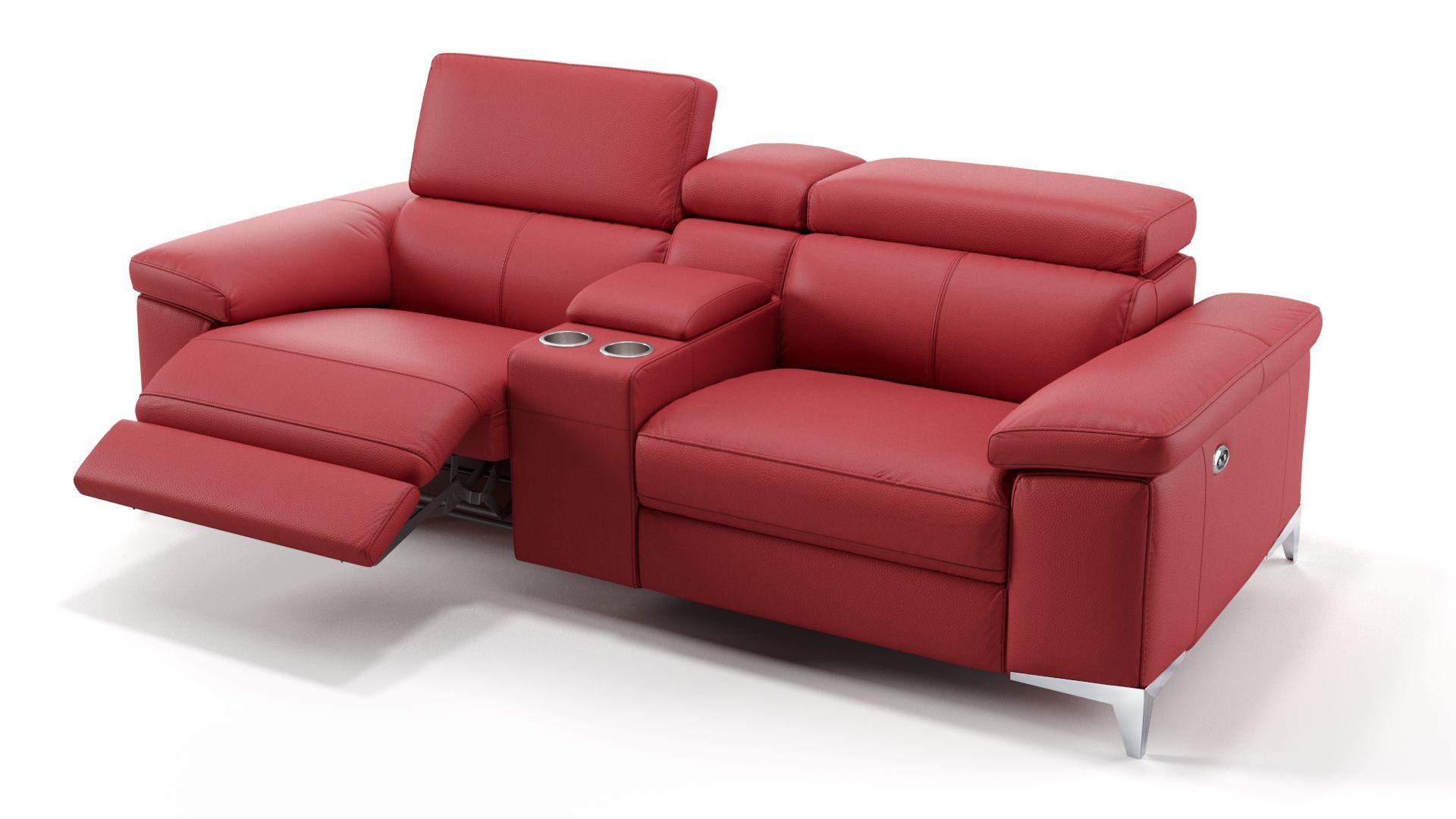 Leder 2-Sitzer Kinosofa mit einer Mittelkonsole VENOSA