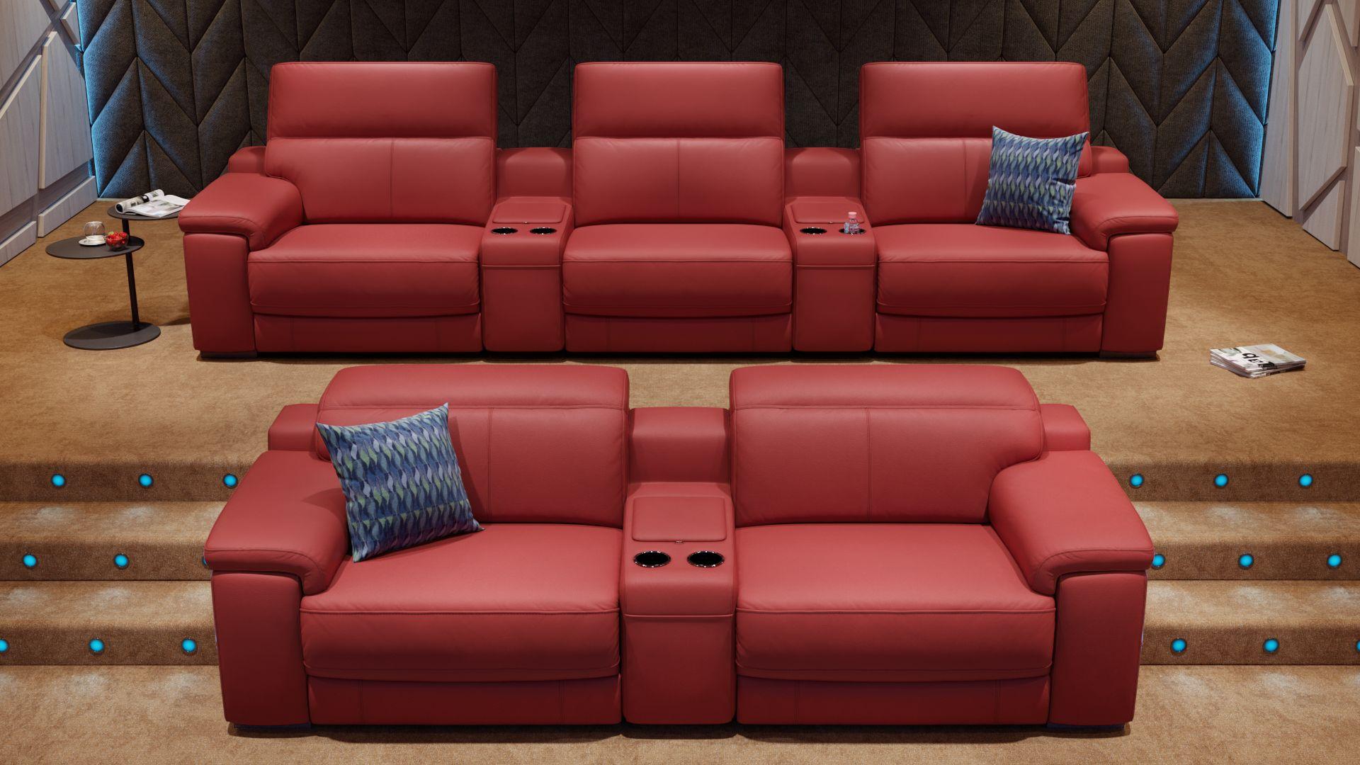 Leder 2-Sitzer Kinosofa mit einer Mittelkonsole SORA