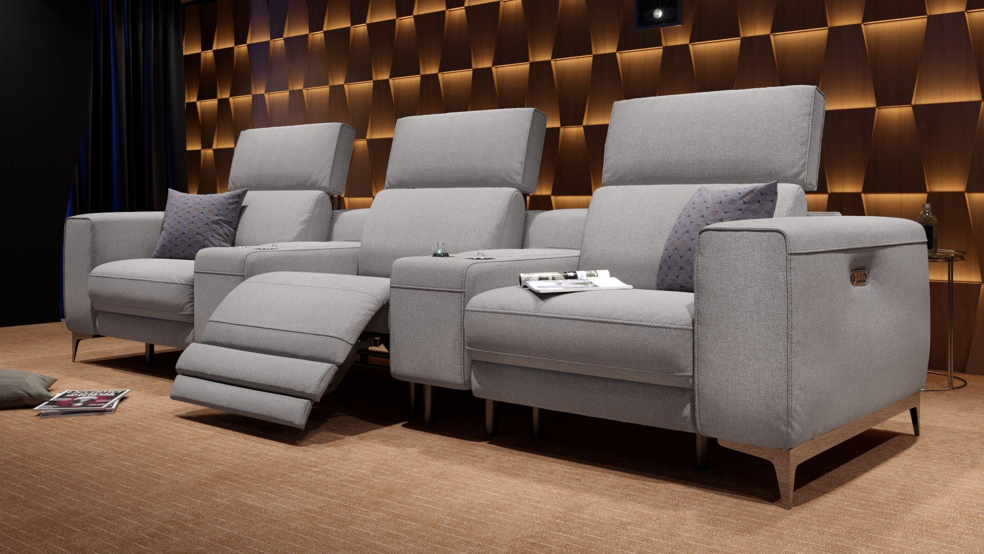 Stoff 3-Sitzer Kinosofa mit zwei Mittelkonsolen CUPELLO