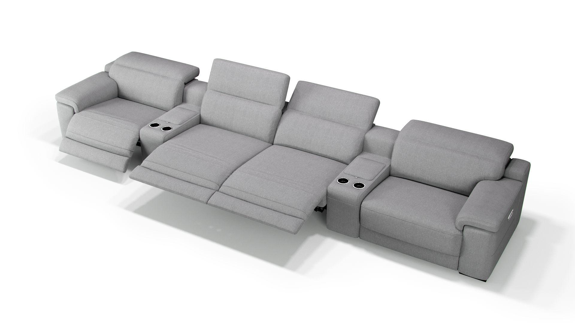 Stoff 4-Sitzer Kinosofa mit zwei Mittelkonsolen SORA
