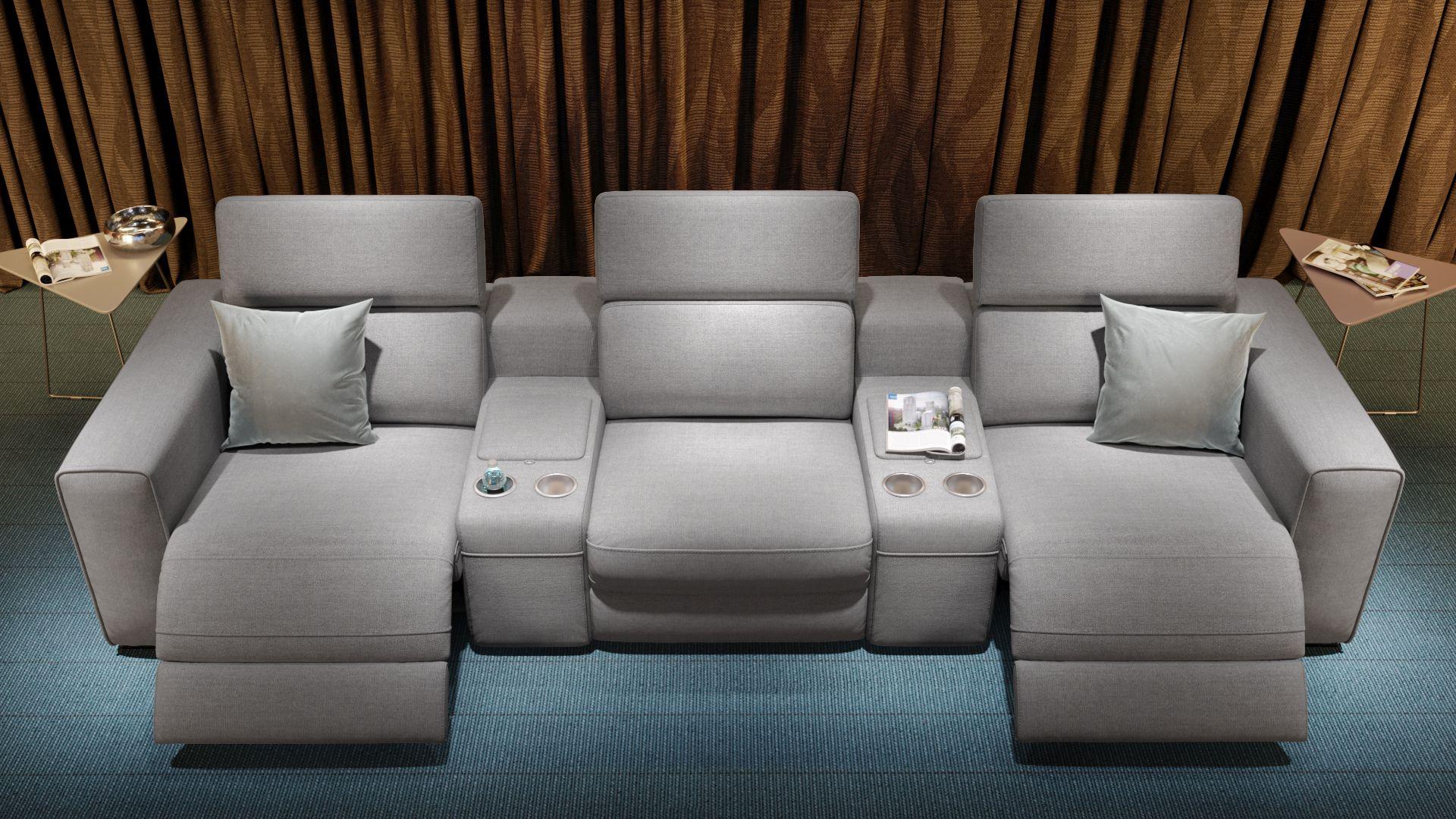 Stoff 3-Sitzer Kinosofa mit zwei Mittelkonsolen BOVINO