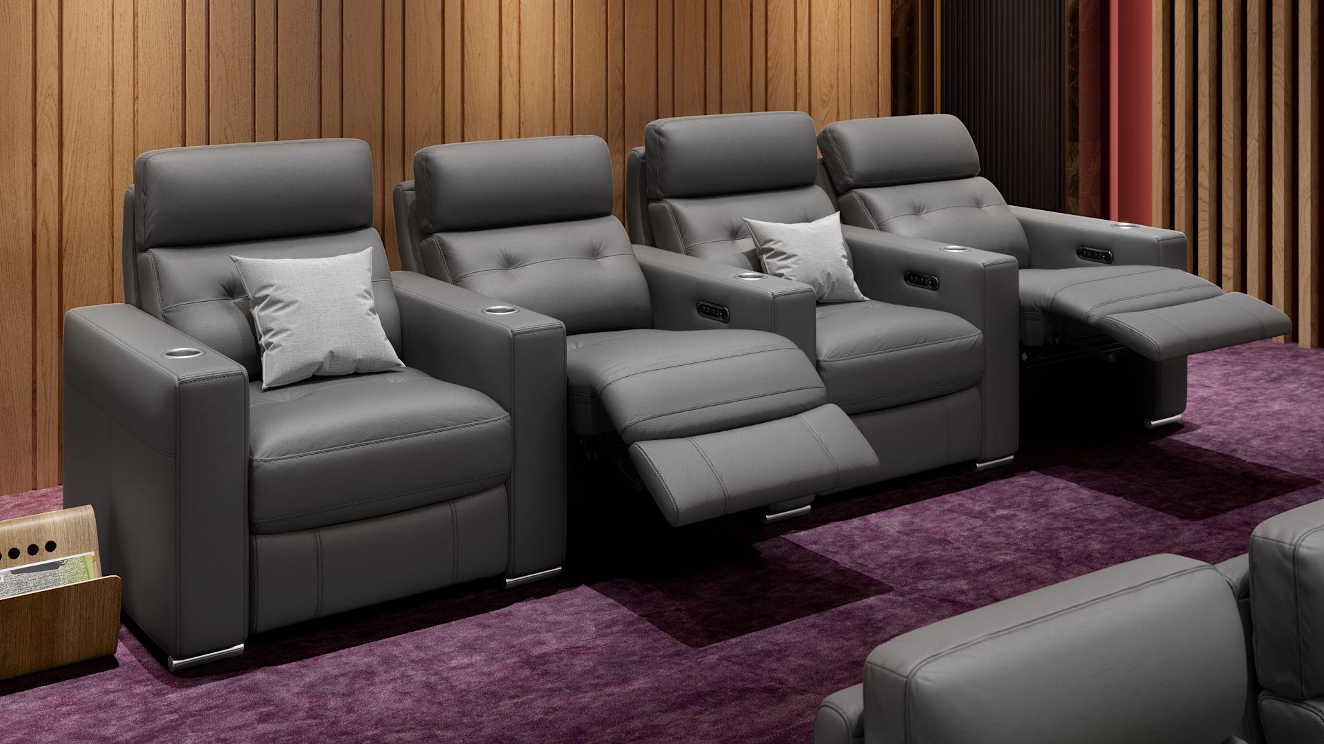 Leder 4-Sitzer Kinosofa mit drei Mittelkonsolen MATERA