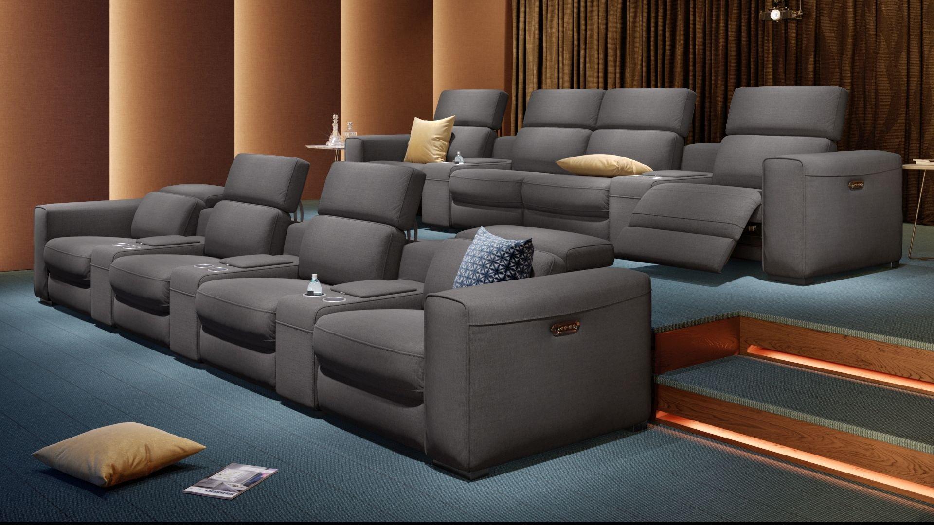 Stoff 4-Sitzer Kinosofa mit zwei Mittelkonsolen BOVINO