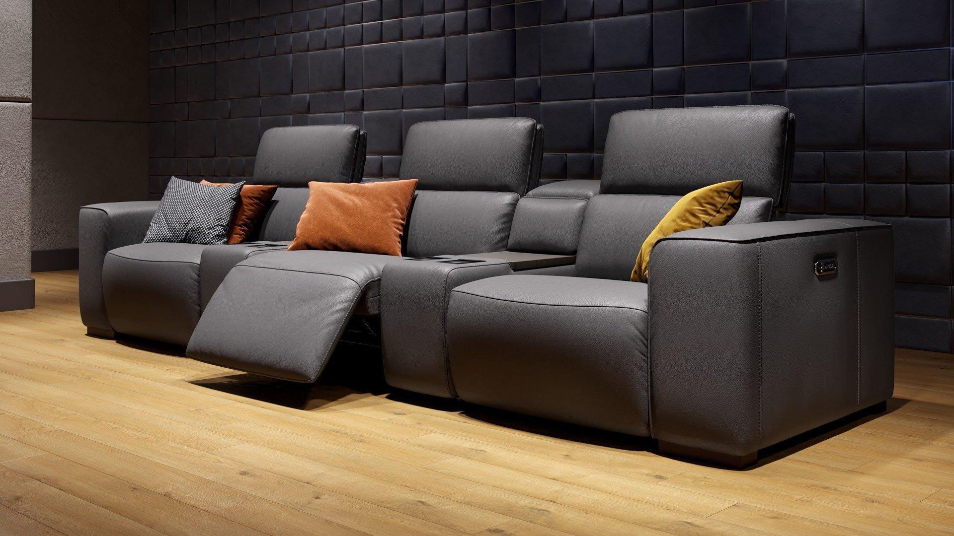 Leder 3-Sitzer Kinosofa mit zwei Mittelkonsolen BINETTO