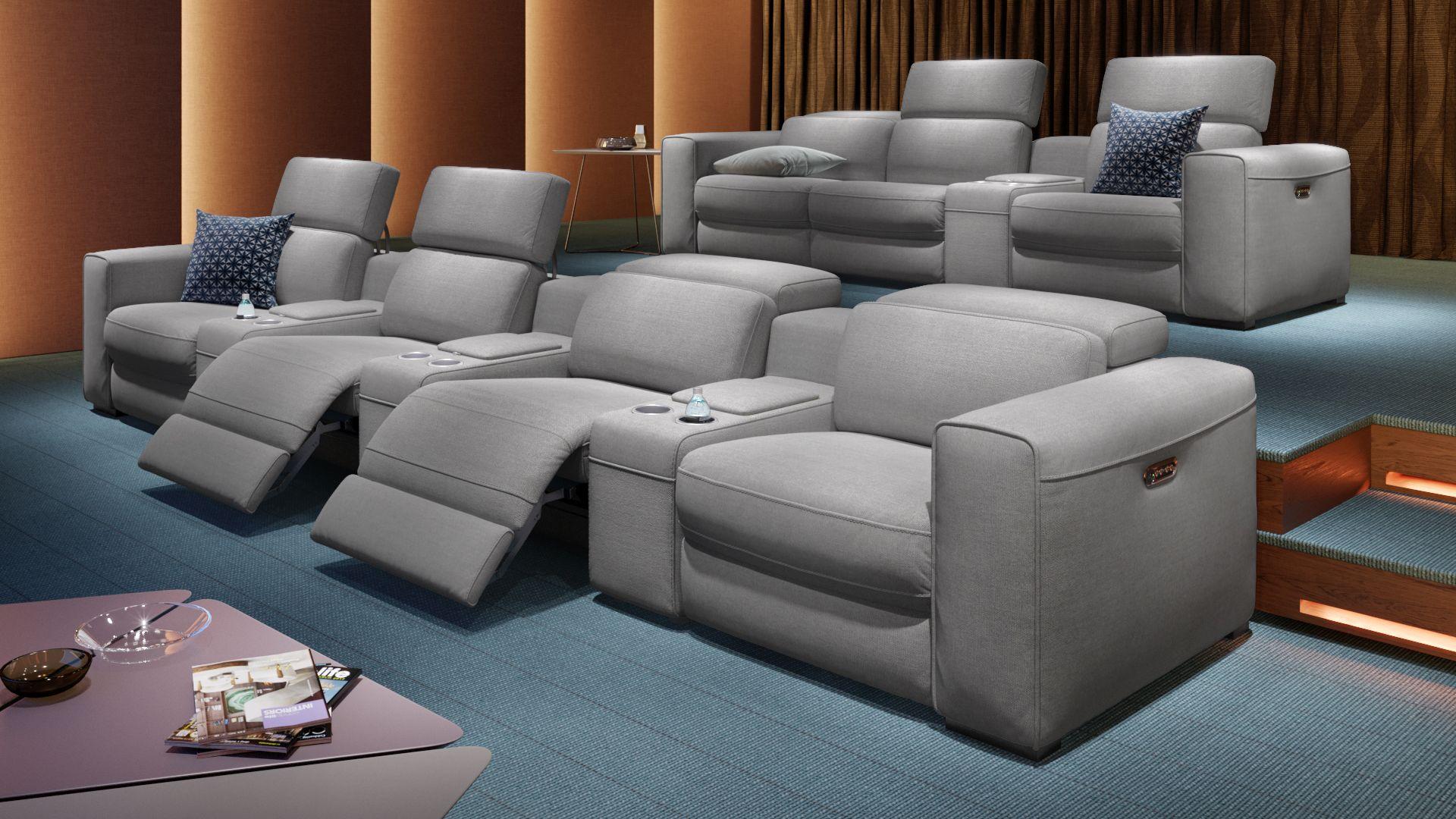 Stoff 3-Sitzer Kinosofa mit einer Mittelkonsole BOVINO