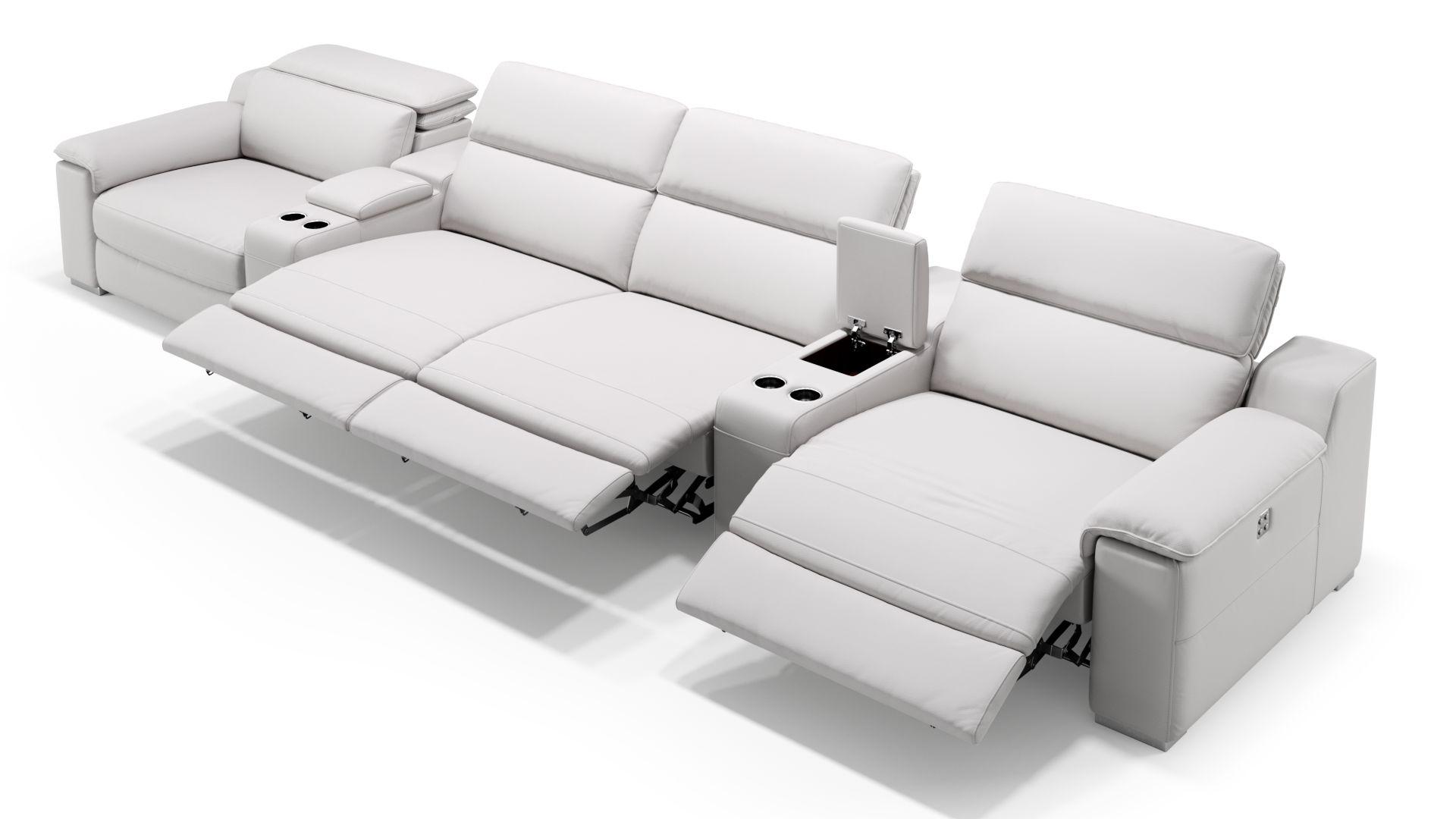 Leder 4-Sitzer Kinosofa mit zwei Mittelkonsolen MACELLO