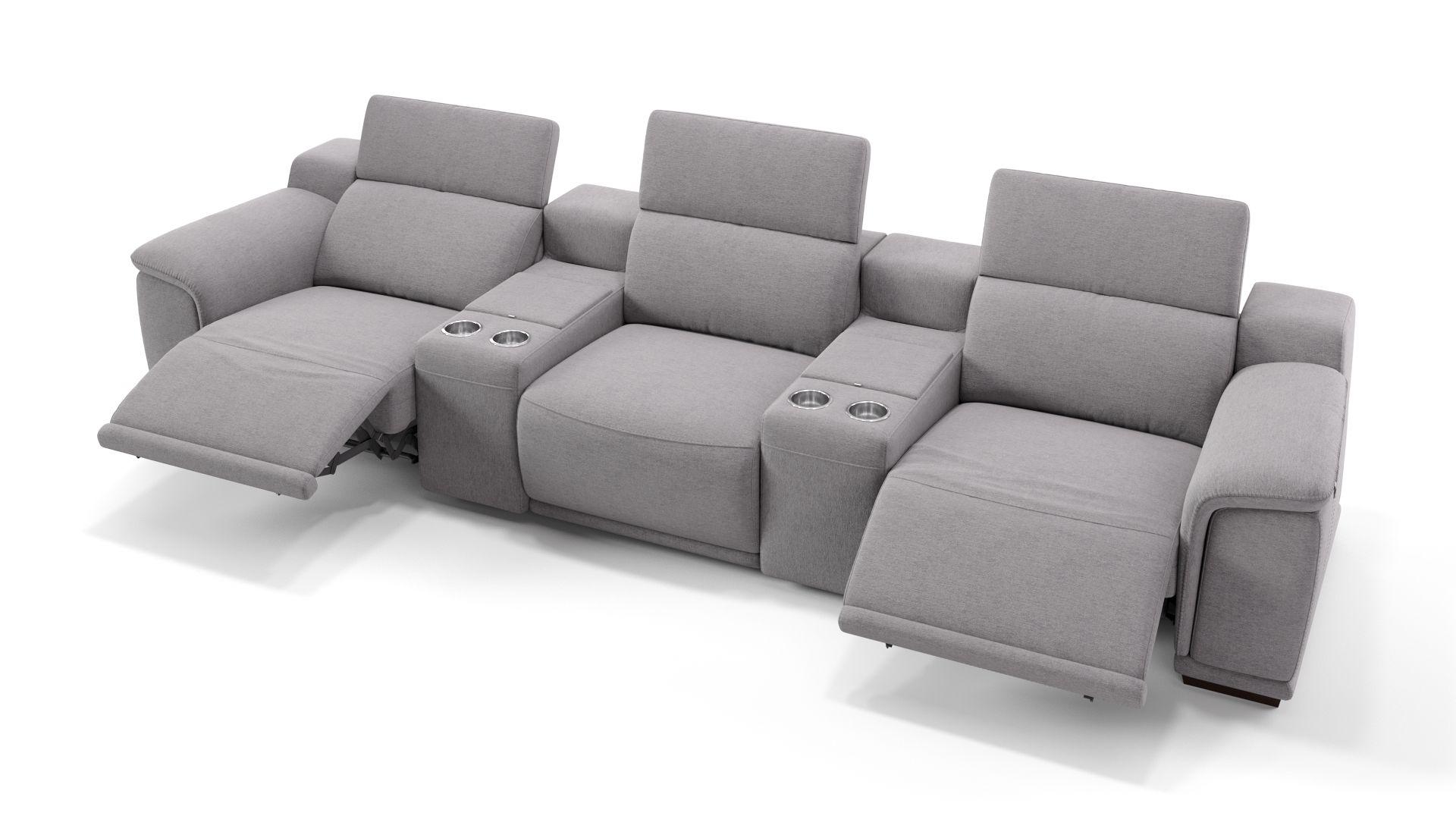 Stoff 3-Sitzer Kinosofa mit zwei Mittelkonsolen MONTEFINO