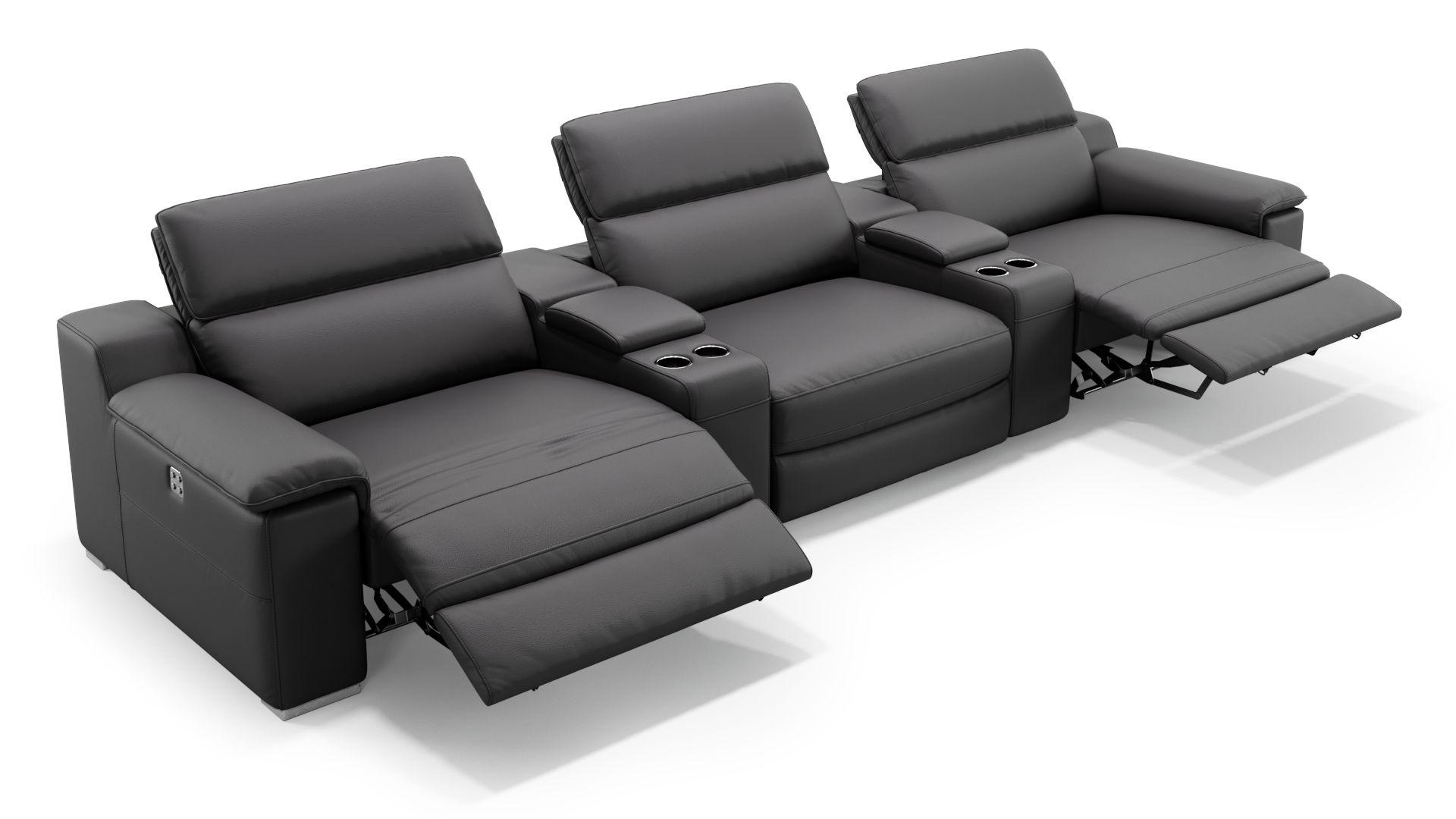Leder 3-Sitzer Kinosofa mit zwei Mittelkonsolen MACELLO