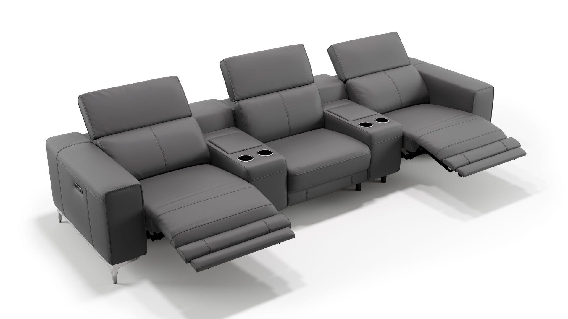 Leder 3-Sitzer Kinosofa mit zwei Mittelkonsolen CUPELLO