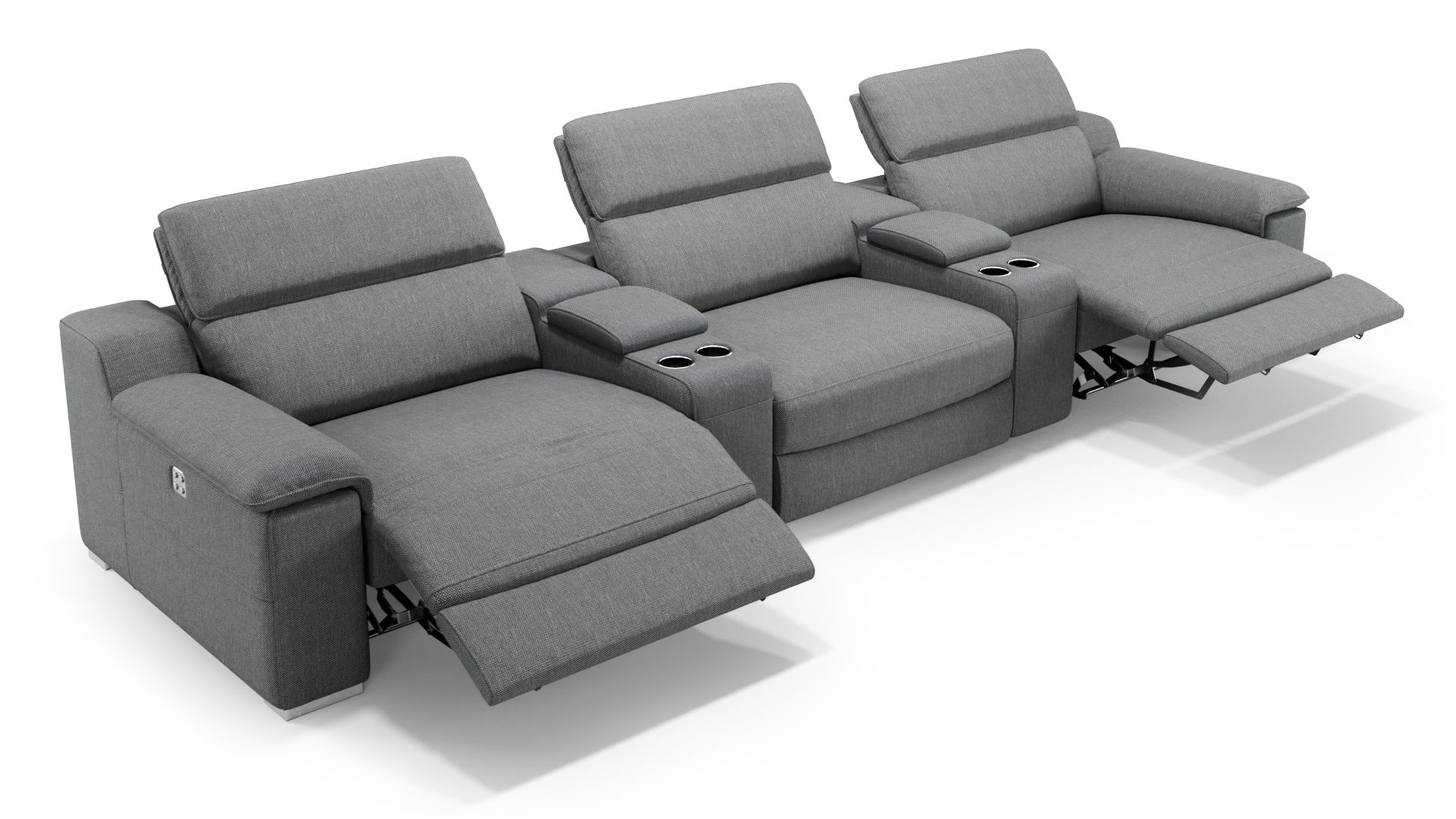 Stoff 3-Sitzer Kinosofa mit zwei Mittelkonsolen MACELLO