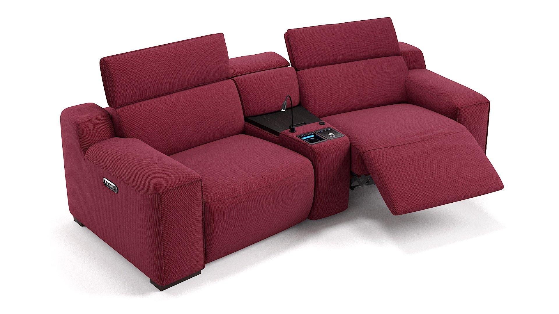 Stoff 2-Sitzer Kinosofa mit einer Mittelkonsole LORETO