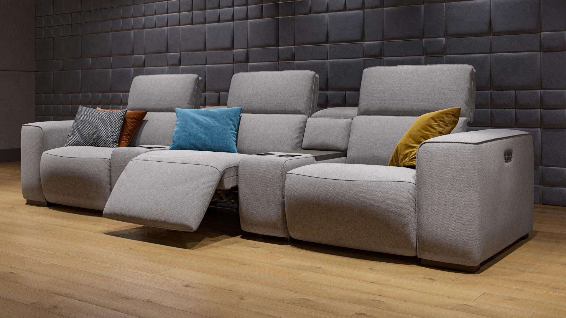 Stoff 3-Sitzer Kinosofa mit zwei Mittelkonsolen BINETTO