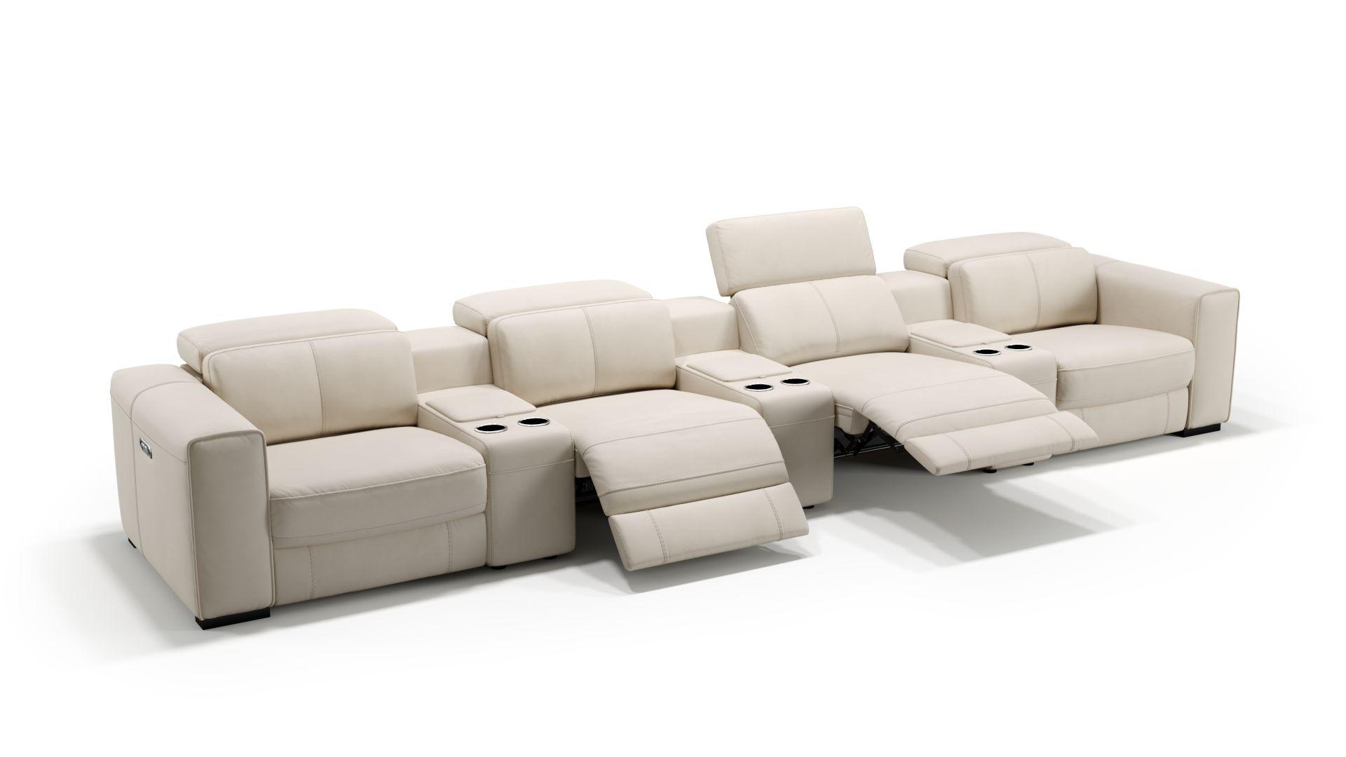 Leder 4-Sitzer Kinosofa mit drei Mittelkonsolen BOVINO
