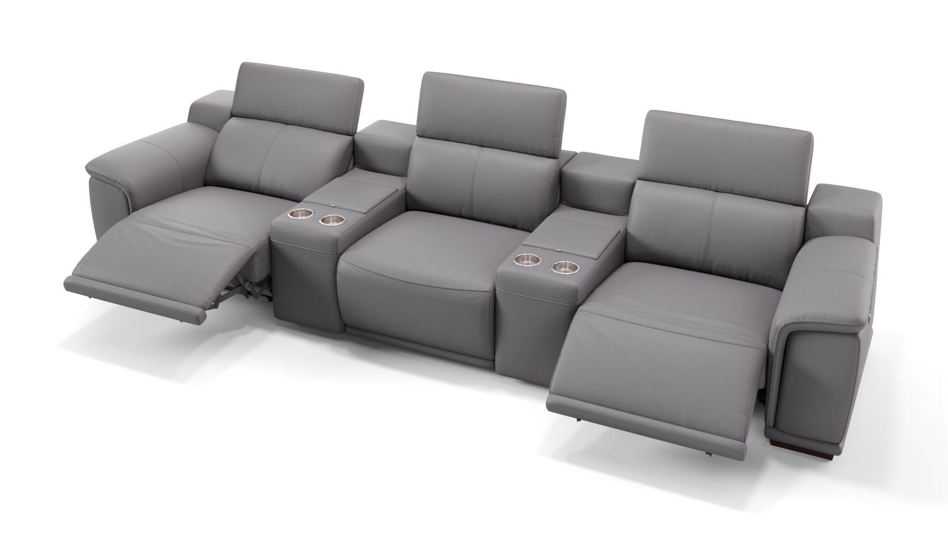 Leder 3-Sitzer Kinosofa mit zwei Mittelkonsolen MONTEFINO