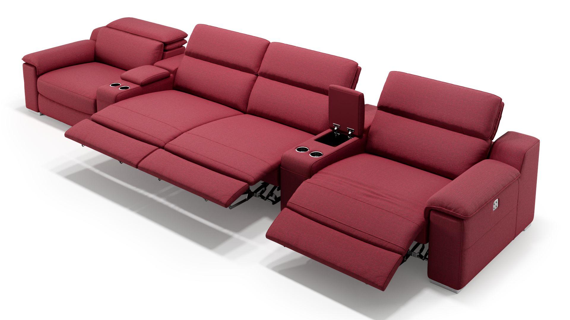Stoff 4-Sitzer Kinosofa mit zwei Mittelkonsolen MACELLO