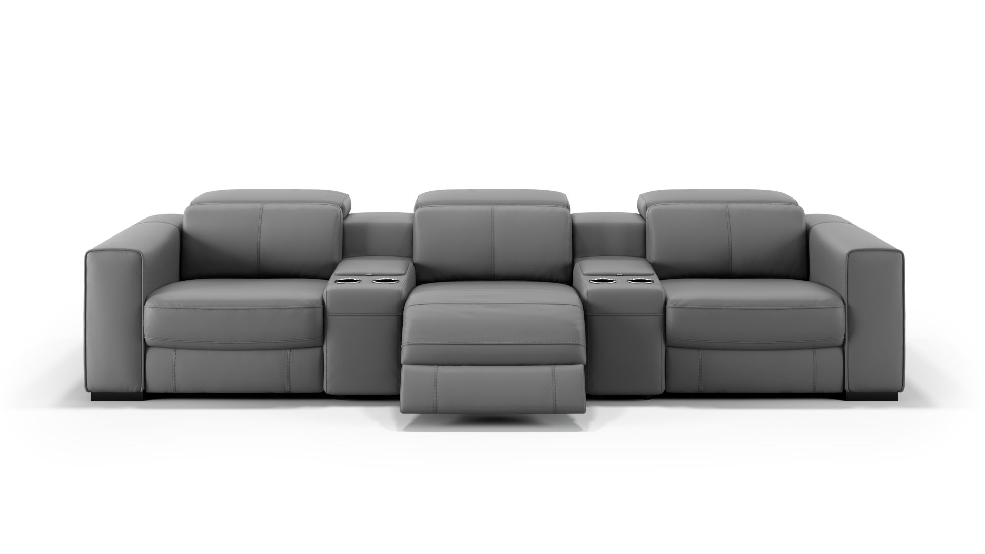 Leder 3-Sitzer Kinosofa mit zwei Mittelkonsolen BOVINO