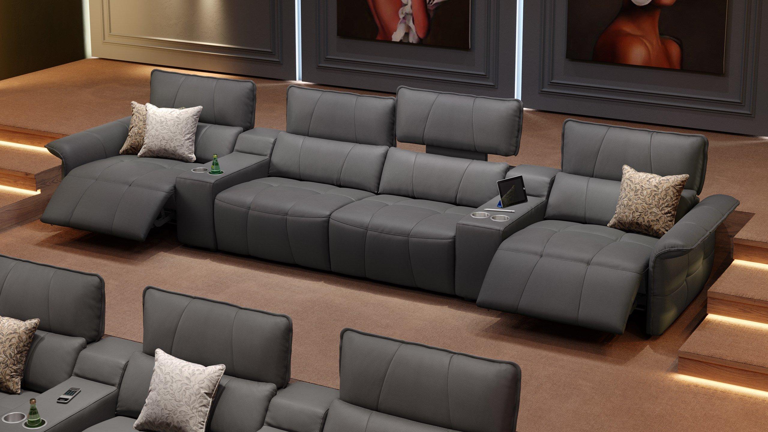Leder 4-Sitzer Kinosofa mit zwei Mittelkonsolen ADRIA