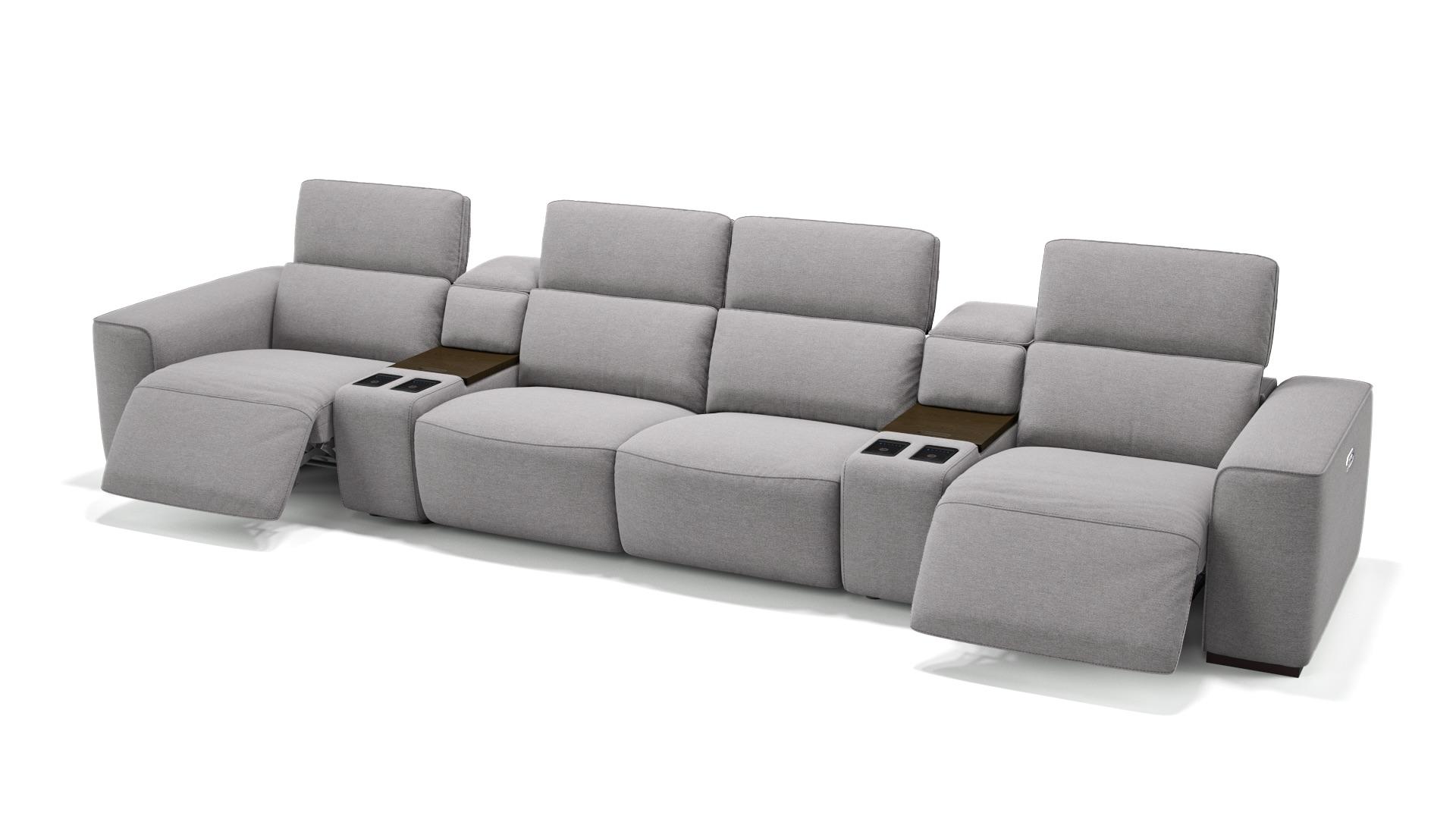 Stoff 4-Sitzer Kinosofa mit zwei Mittelkonsolen BINETTO
