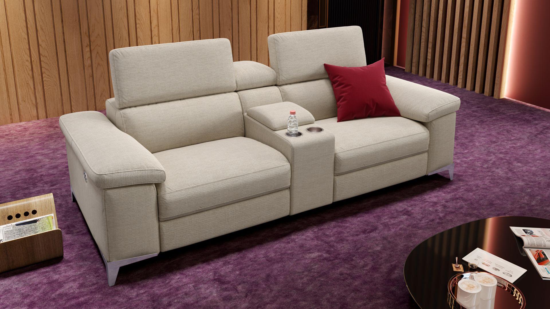 Stoff 2-Sitzer Kinosofa mit einer Mittelkonsole VENOSA