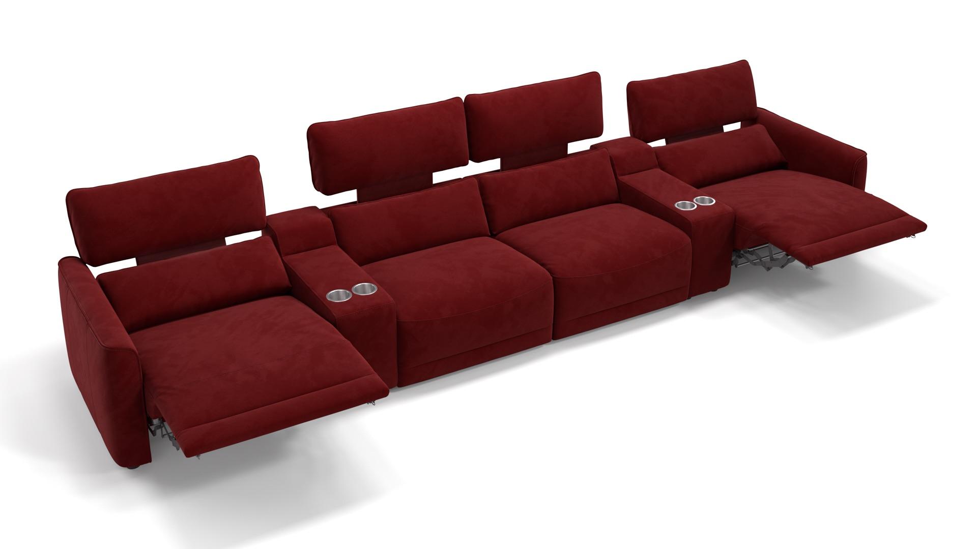 Stoff 4-Sitzer Kinosofa mit zwei Mittelkonsolen GALA