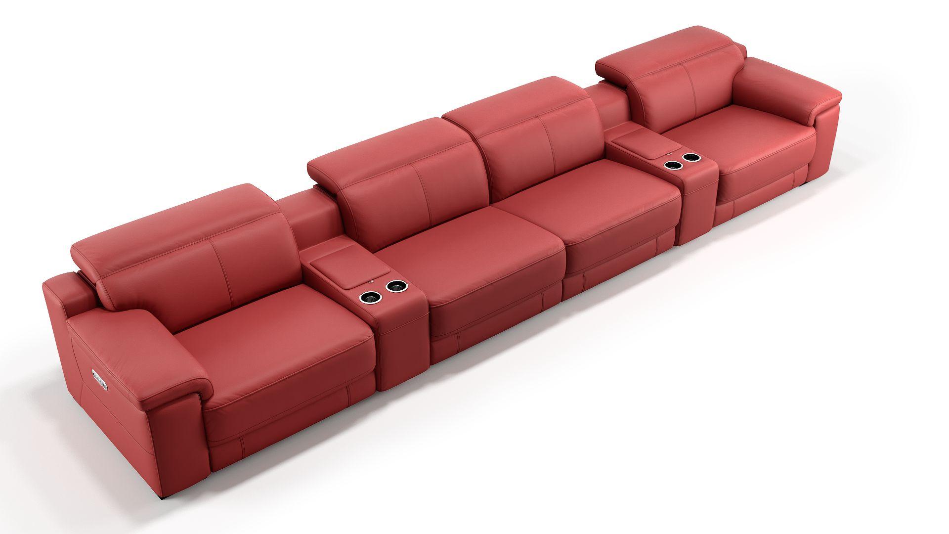 Leder 4-Sitzer Kinosofa mit zwei Mittelkonsolen SORA