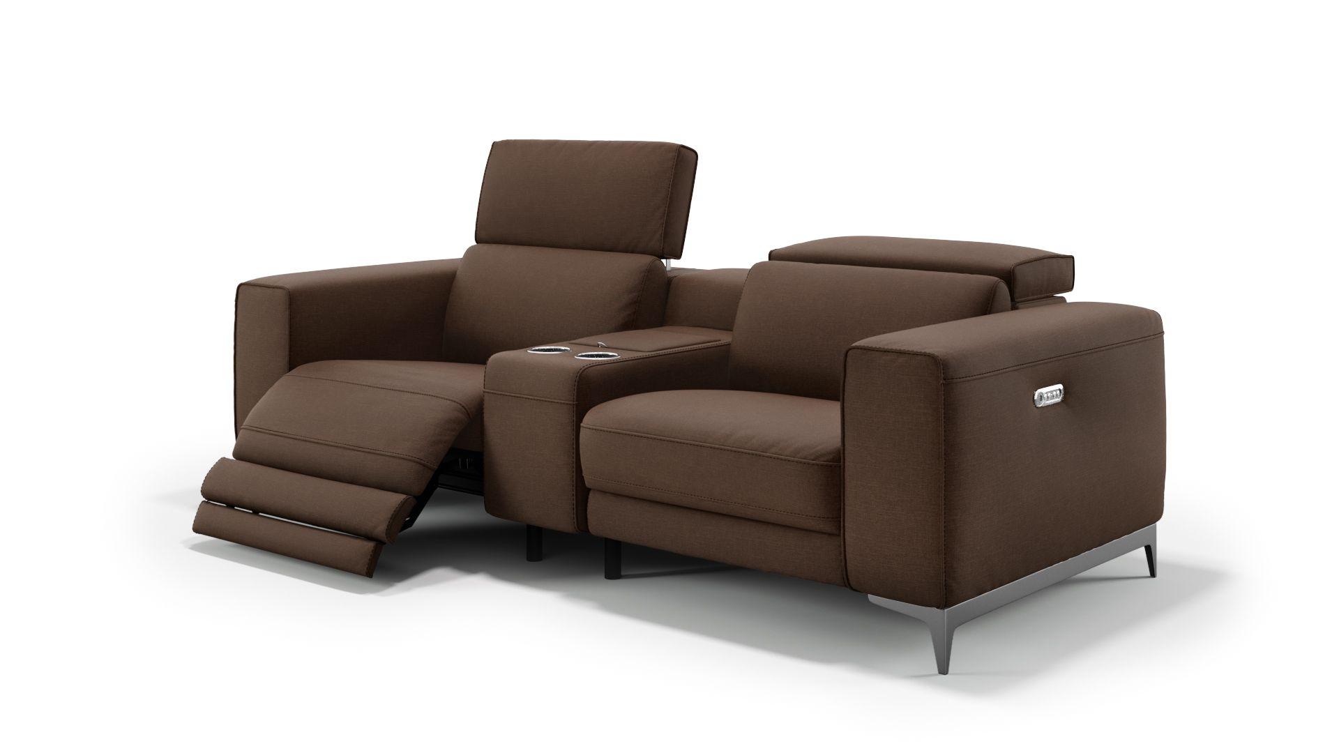 Stoff 2-Sitzer Kinosofa mit einer Mittelkonsole CUPELLO