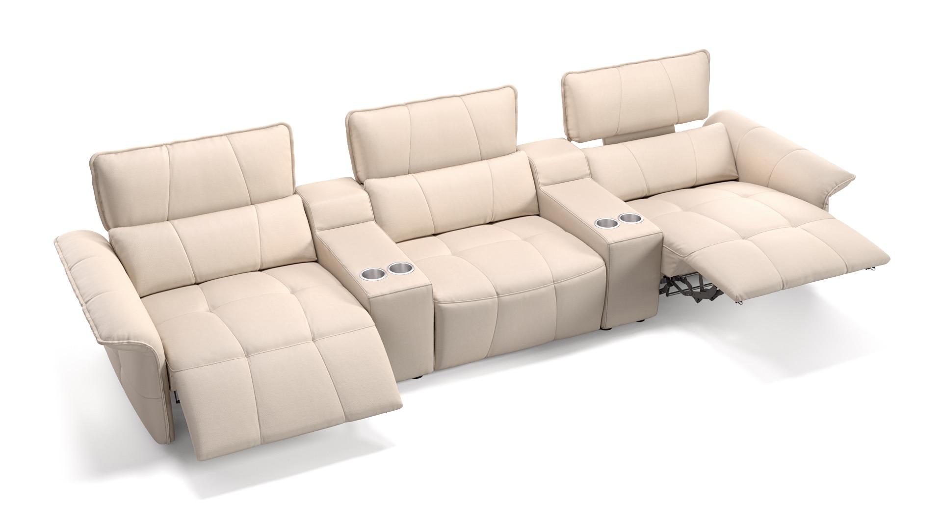 Leder 3-Sitzer Kinosofa mit zwei Mittelkonsolen ADRIA