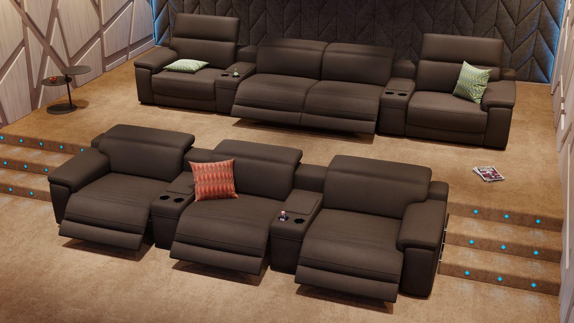Stoff 3-Sitzer Kinosofa mit zwei Mittelkonsolen SORA